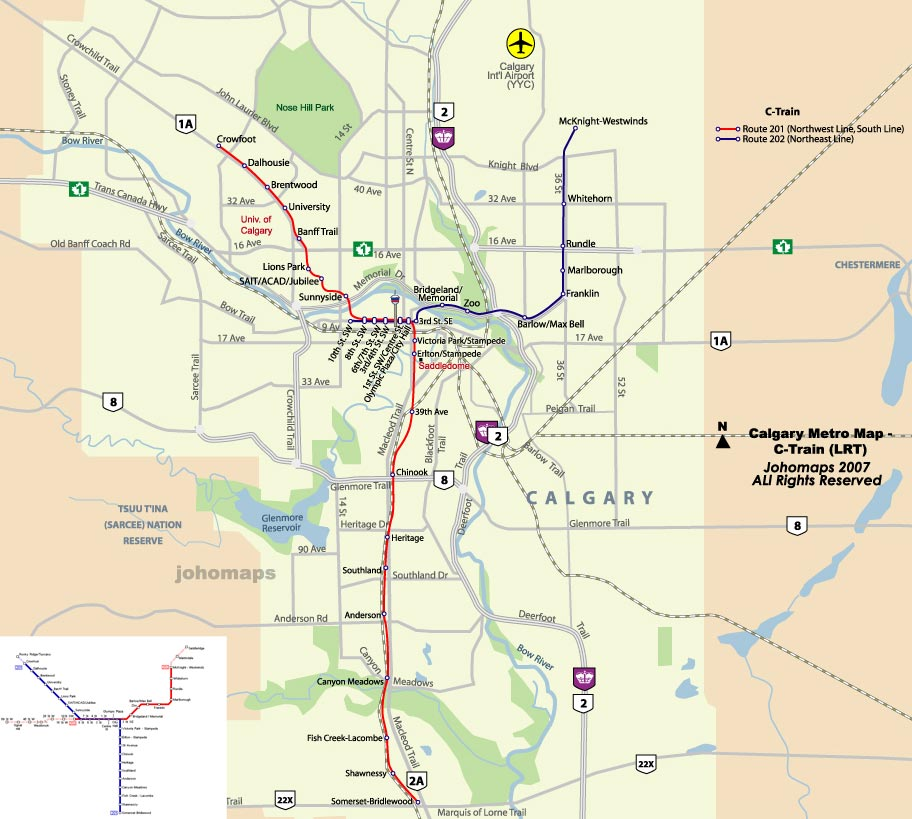 Calgary Metro Map subway Mapsofnet