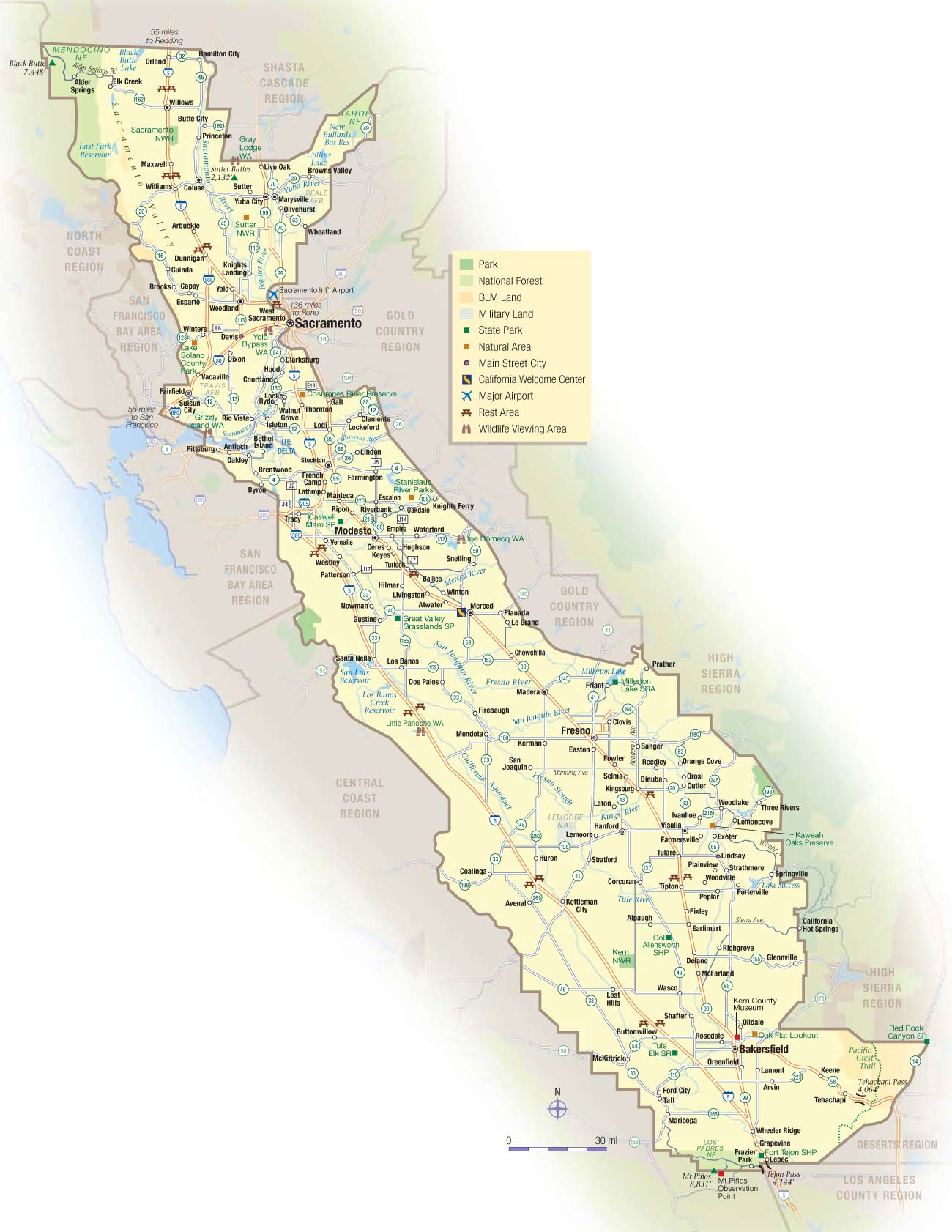 California Central Valley Map large map