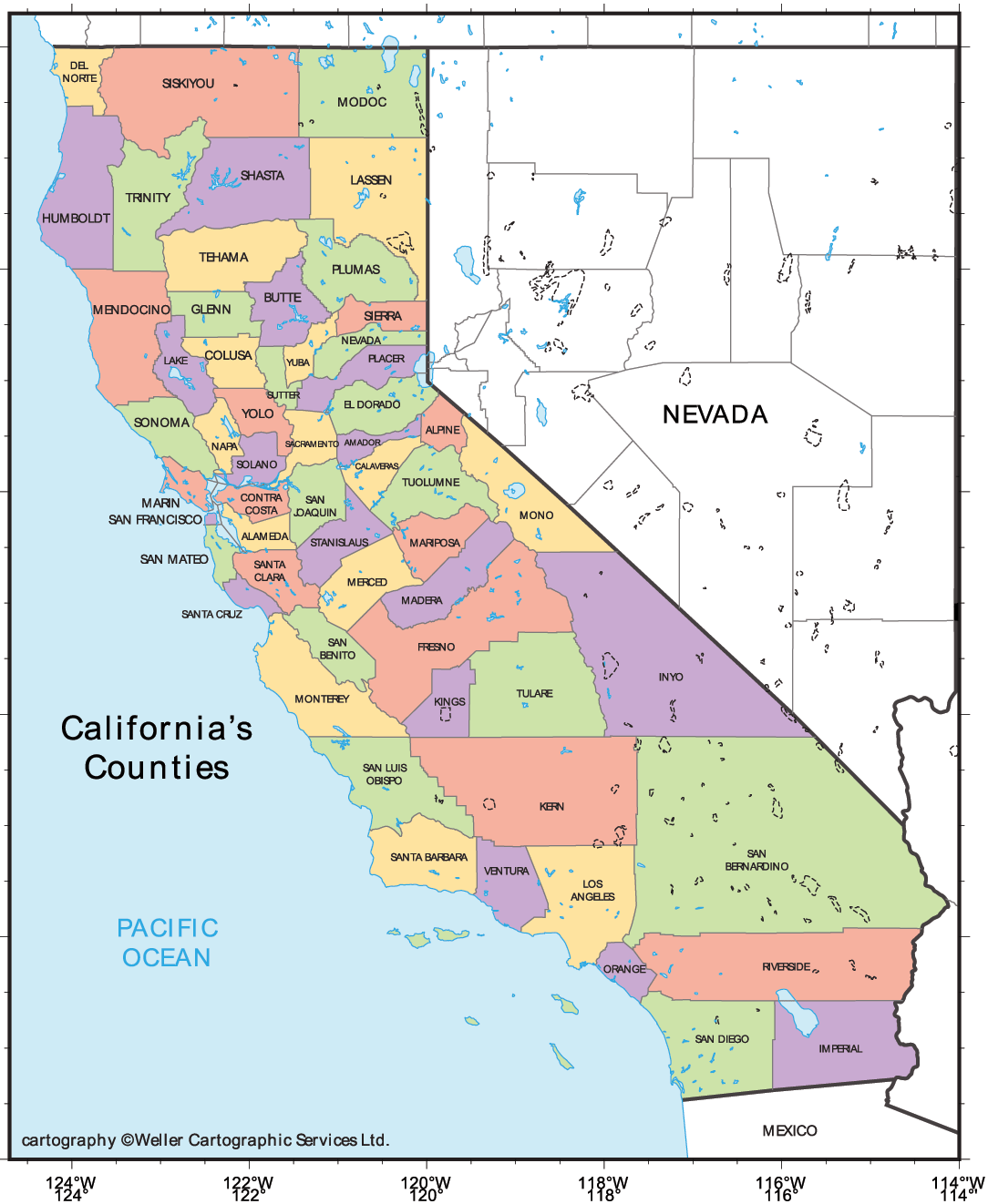 California Cities Map Mapsofnet - Map of california cities and towns