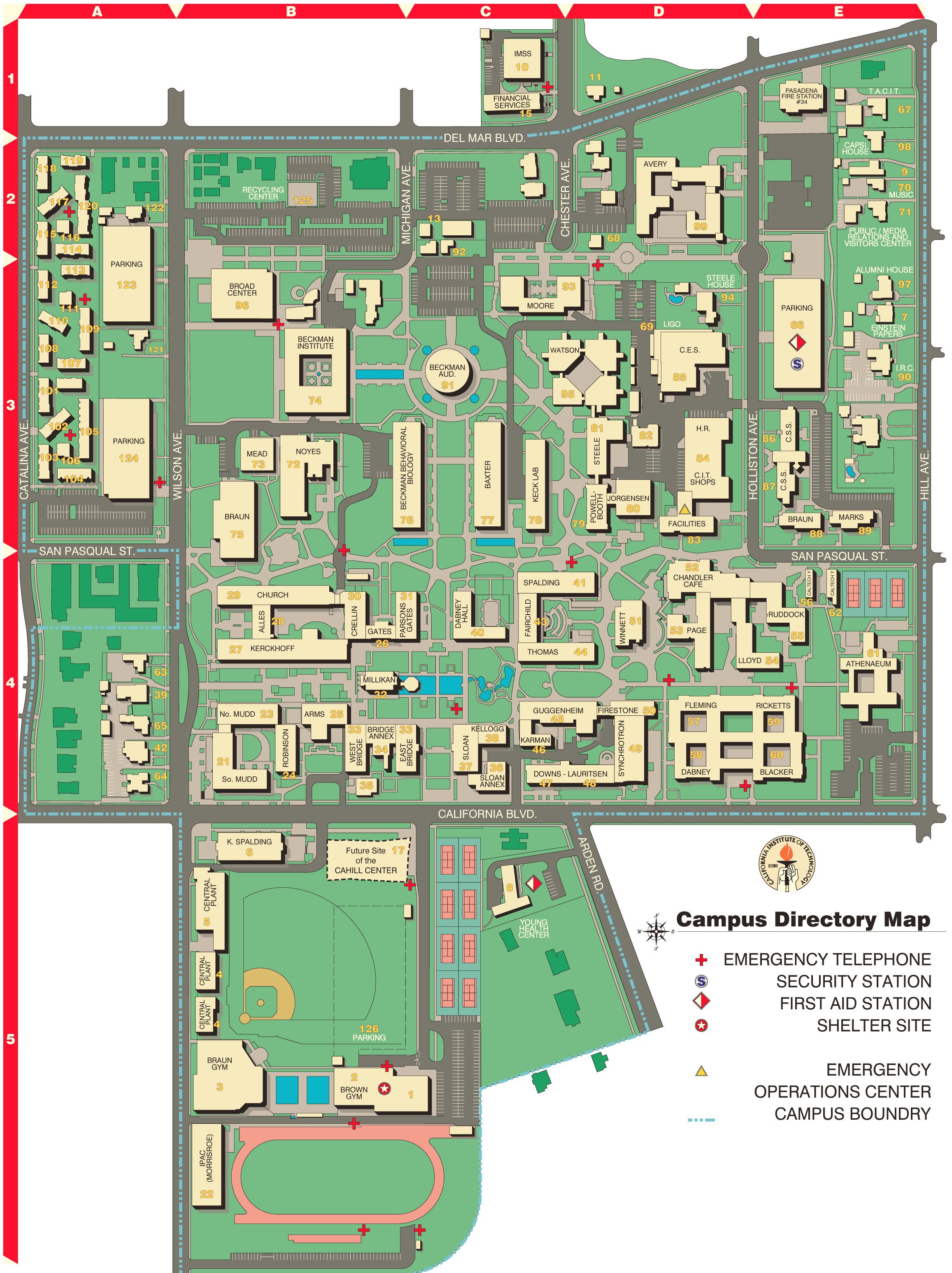 California Institute of Technology Campus Map 1 large map