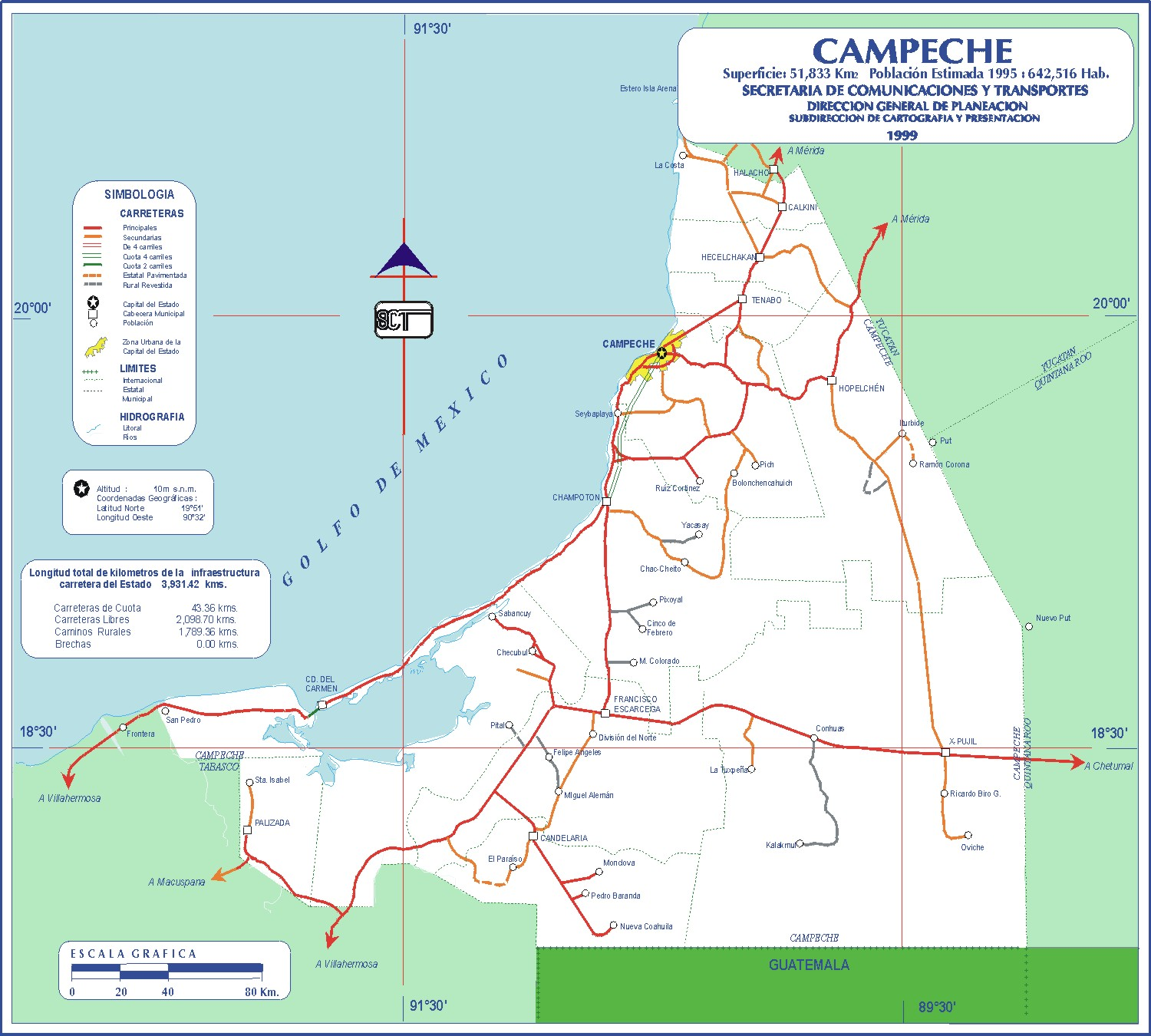 Campeche Mexico Road Map