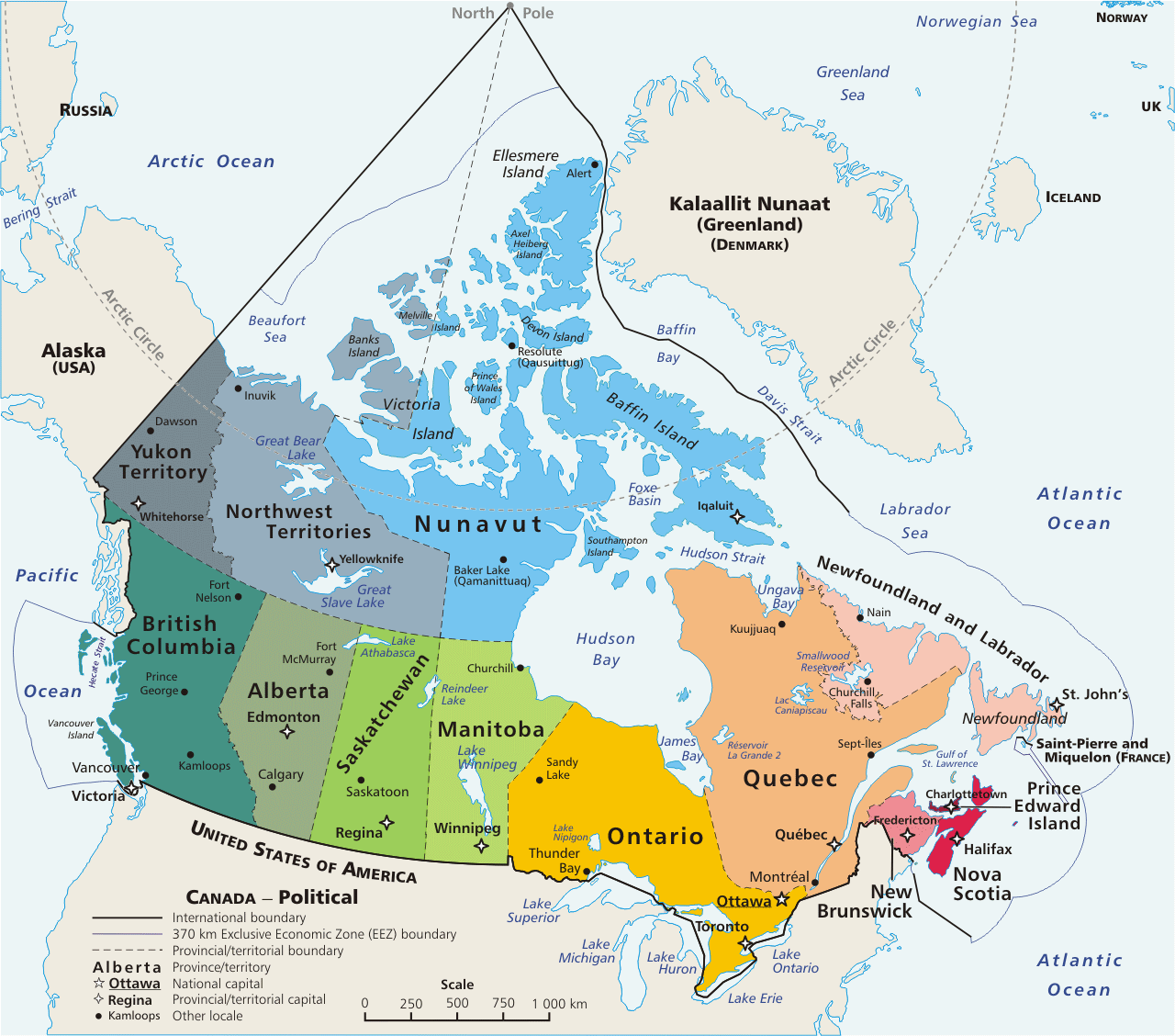 Canada Provinces And Territories Map large map