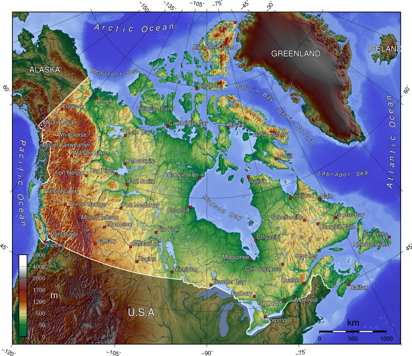 Map Canada Physical Mapsofnet - Mountains in canada map