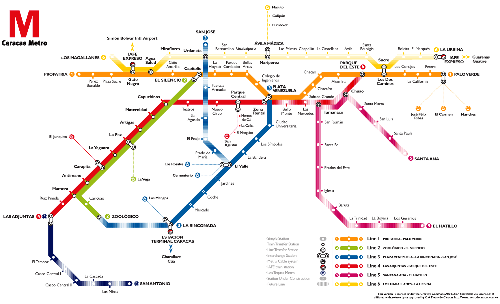 Caracas Metro Map subway Mapsofnet