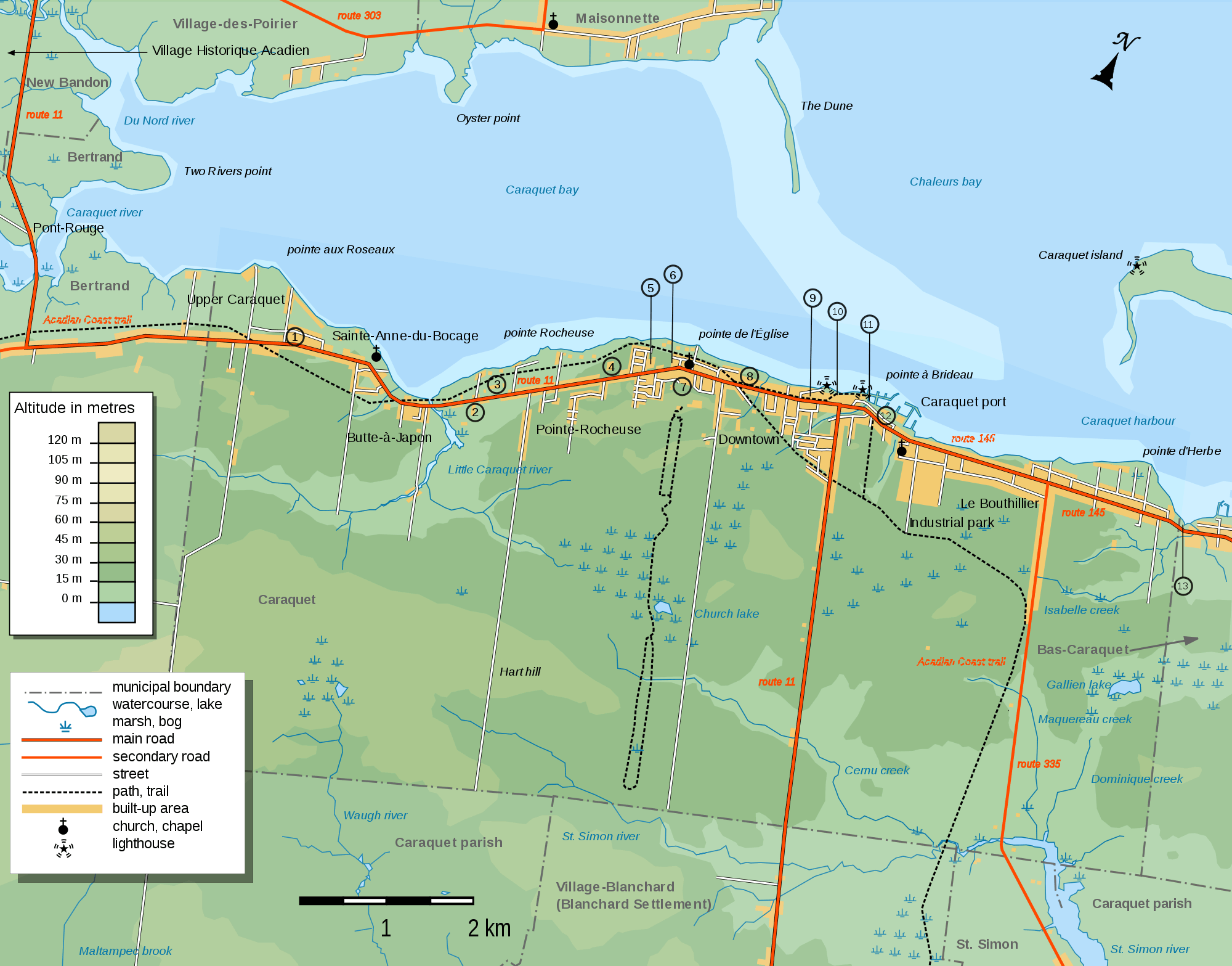 Caraquet Topographic Map large map