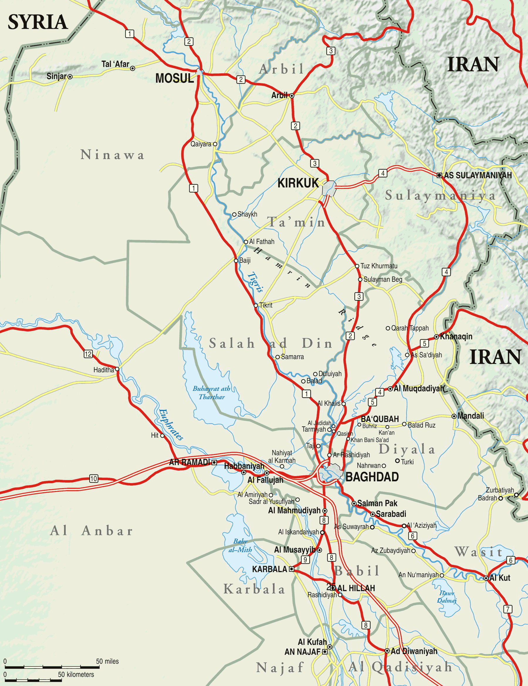 Central And Northern Iraq large map