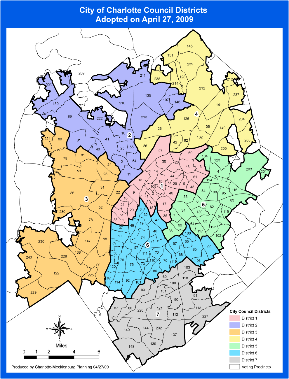 Charlotte Districts Map large map