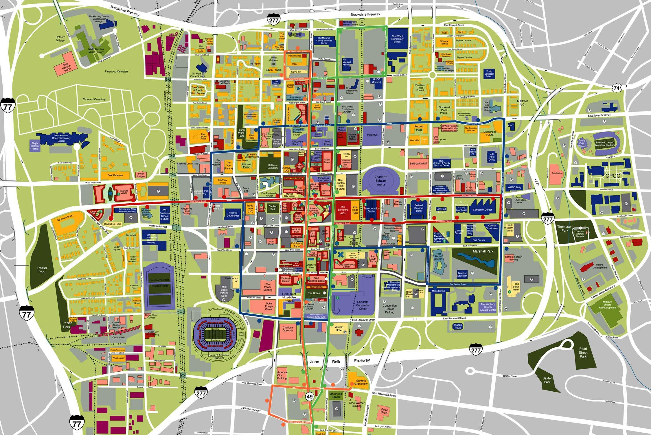 map of downtown charlotte bnhspinecom