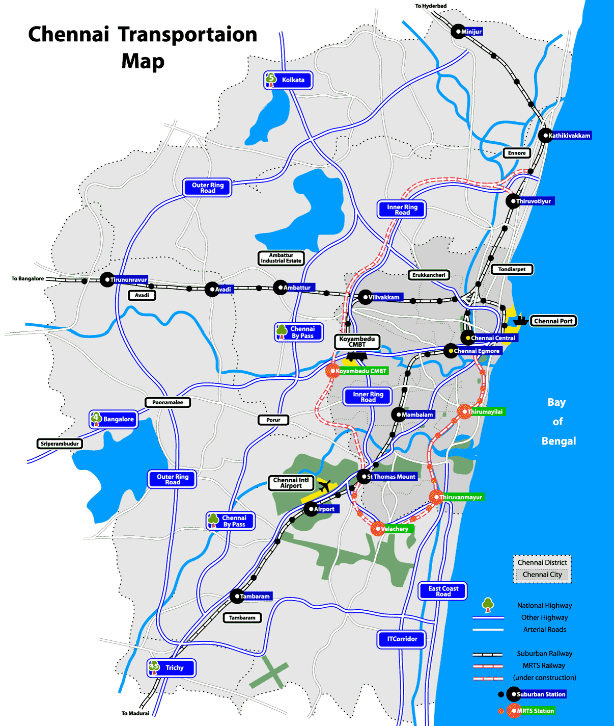 Chennai Transport Map - mapsof.