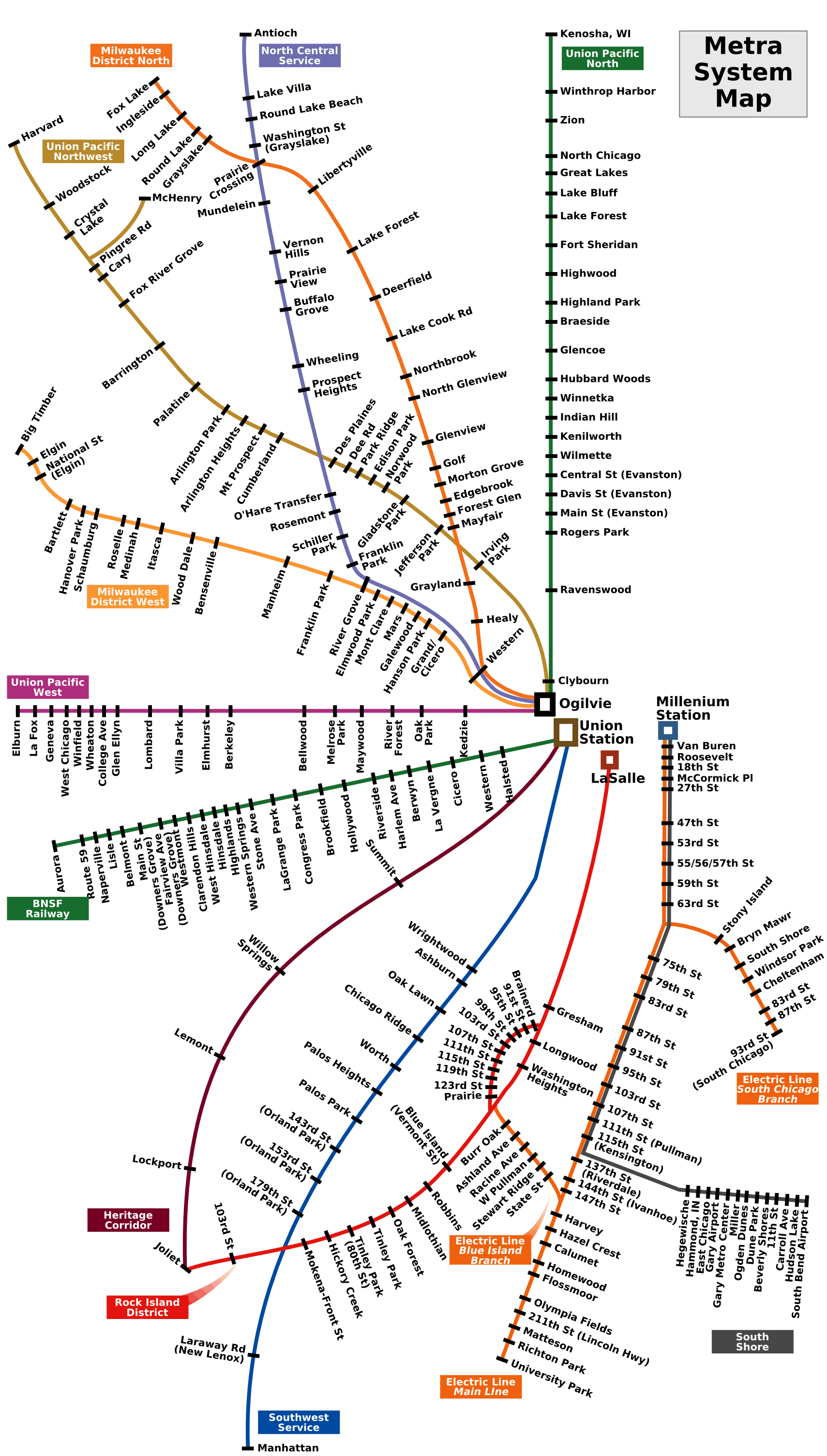 Chicago Metra Map