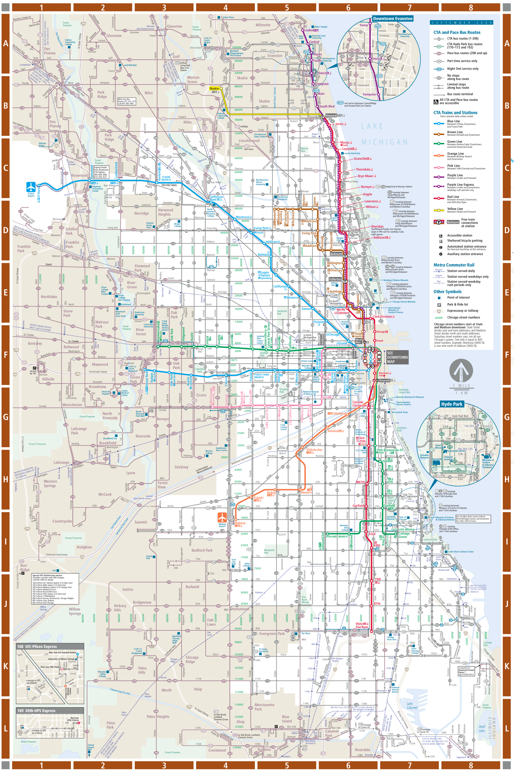 Chicago Detailed Rail Transport Map Mapsofnet