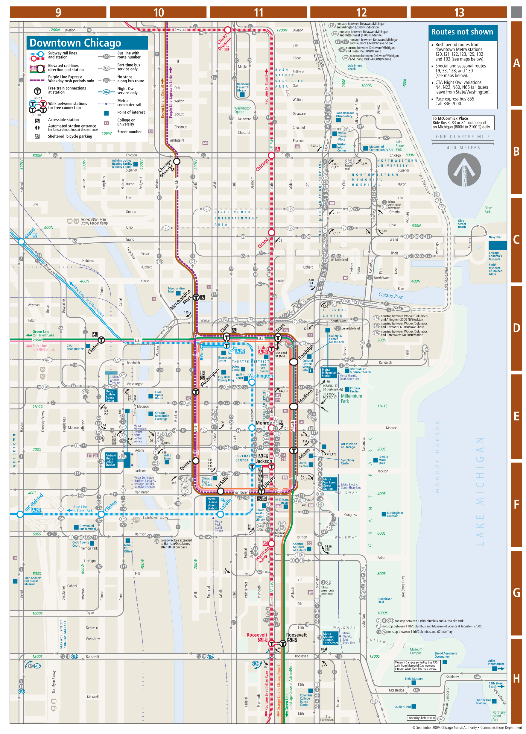 Chicago Downtown Metro System Map Mapsofnet