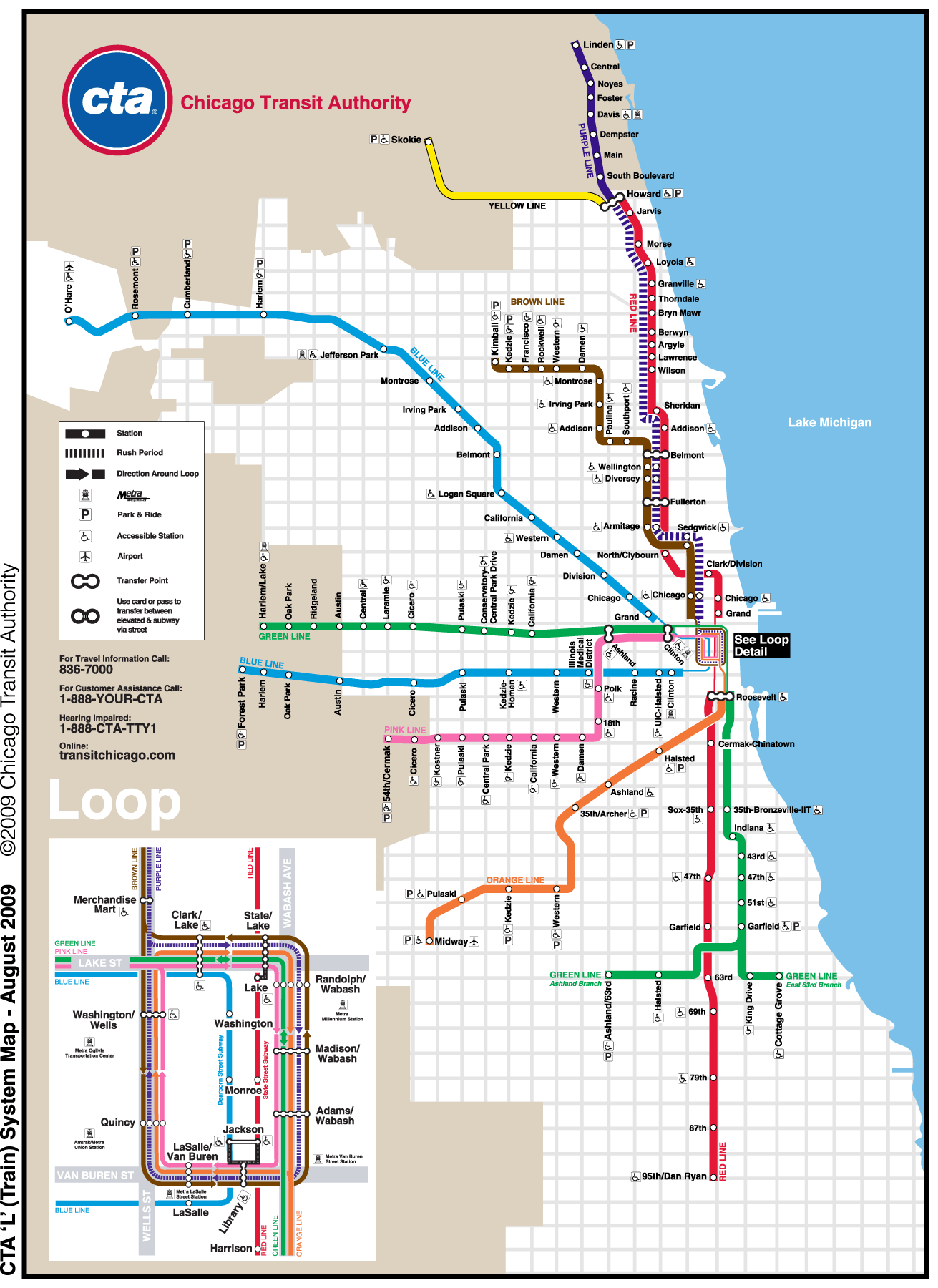 Chicago Metro Map (subway) large map