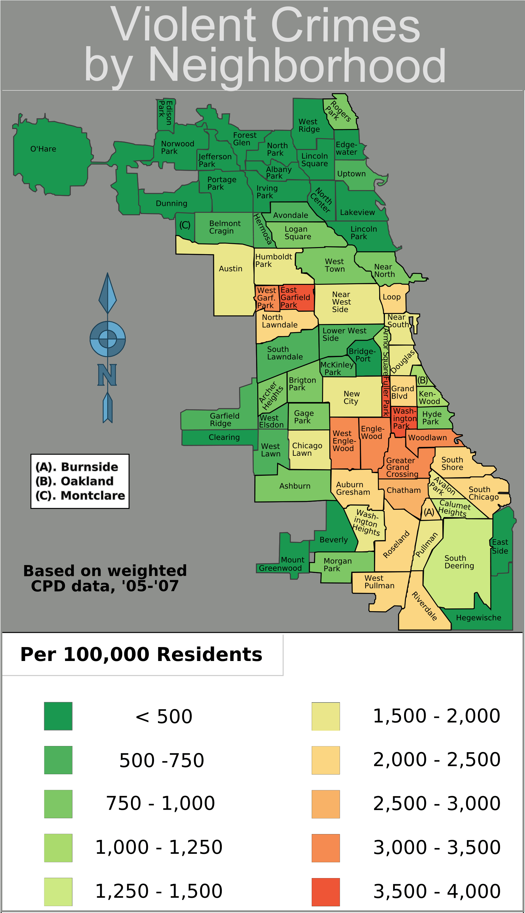 Chicago Weighted Crime Map 05 07 • Mapsof.net