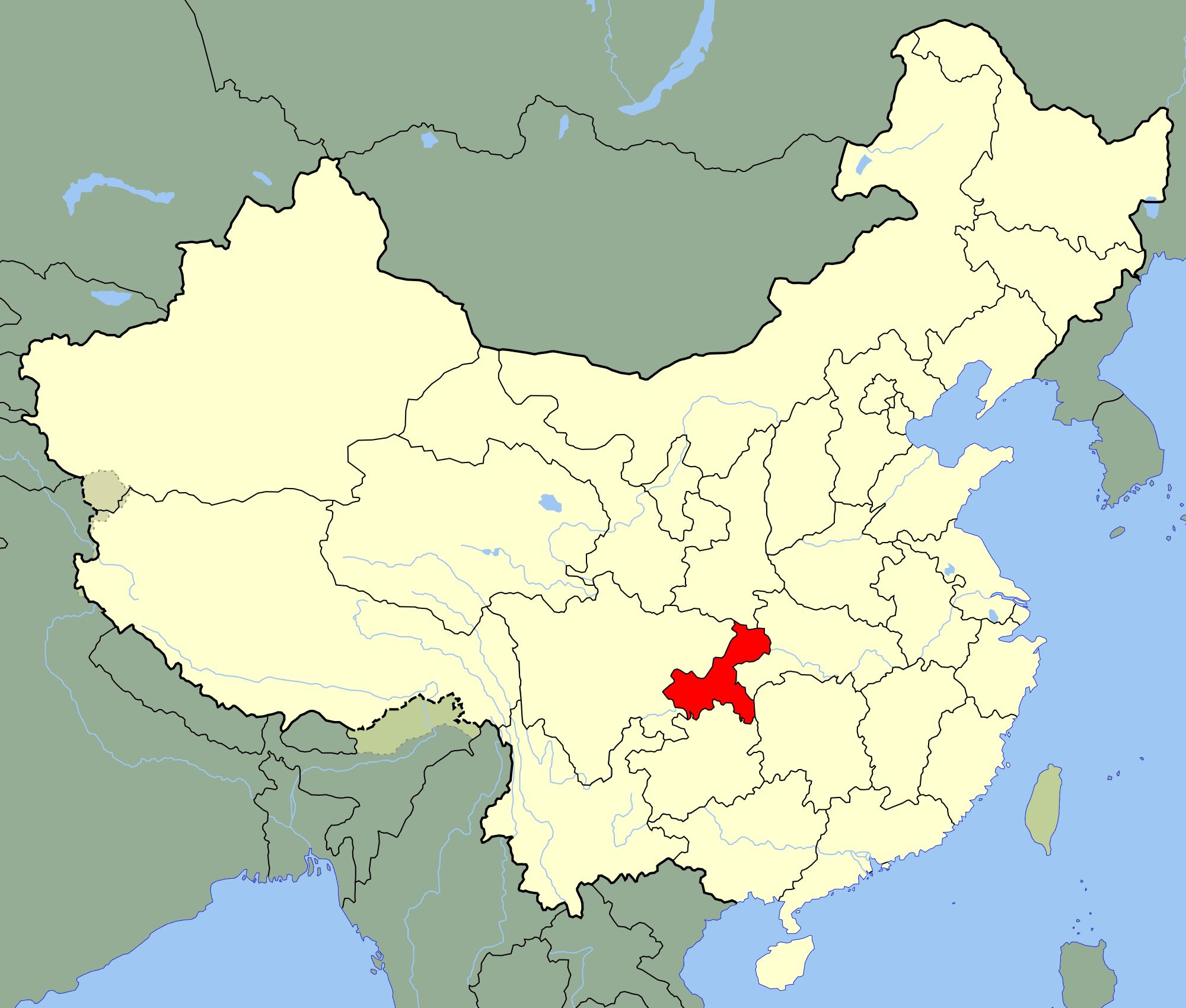 China Chongqing Location Map large map
