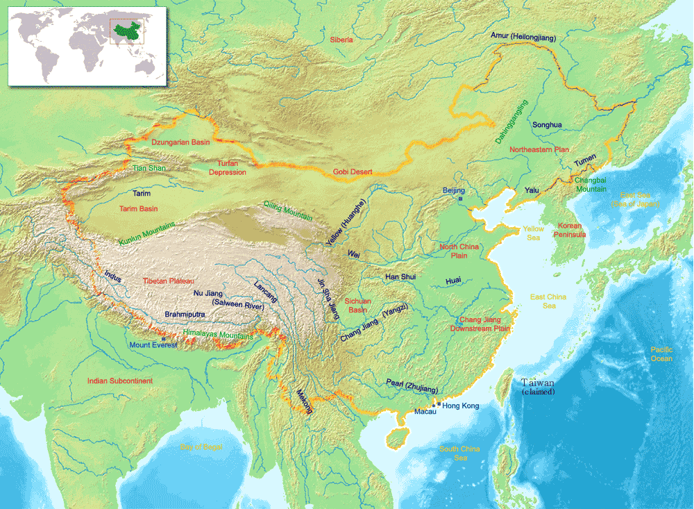 China Geography Map large map