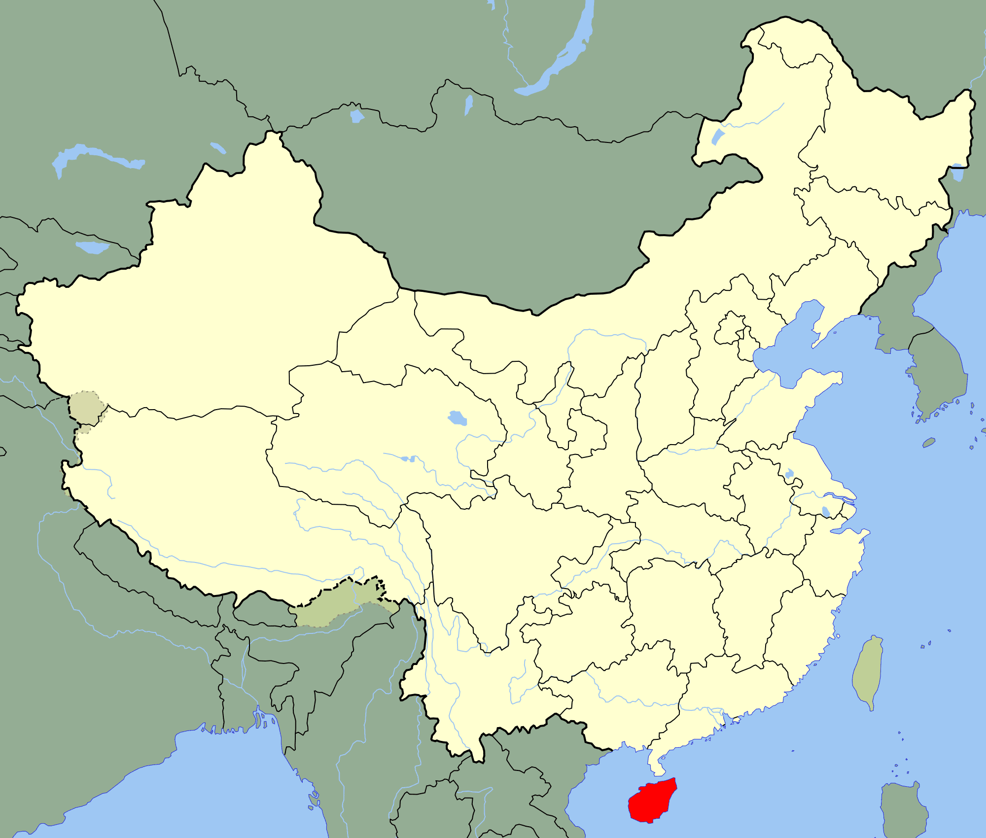 China Hainan Location Map large map