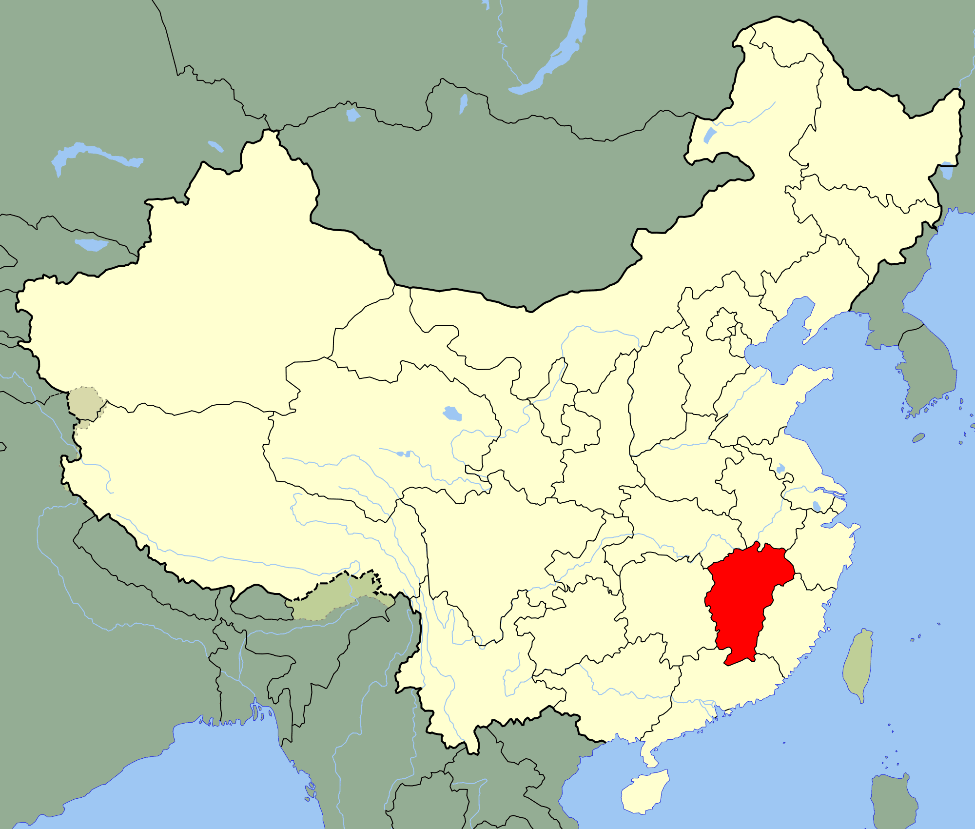 China Jiangxi Location Map large map