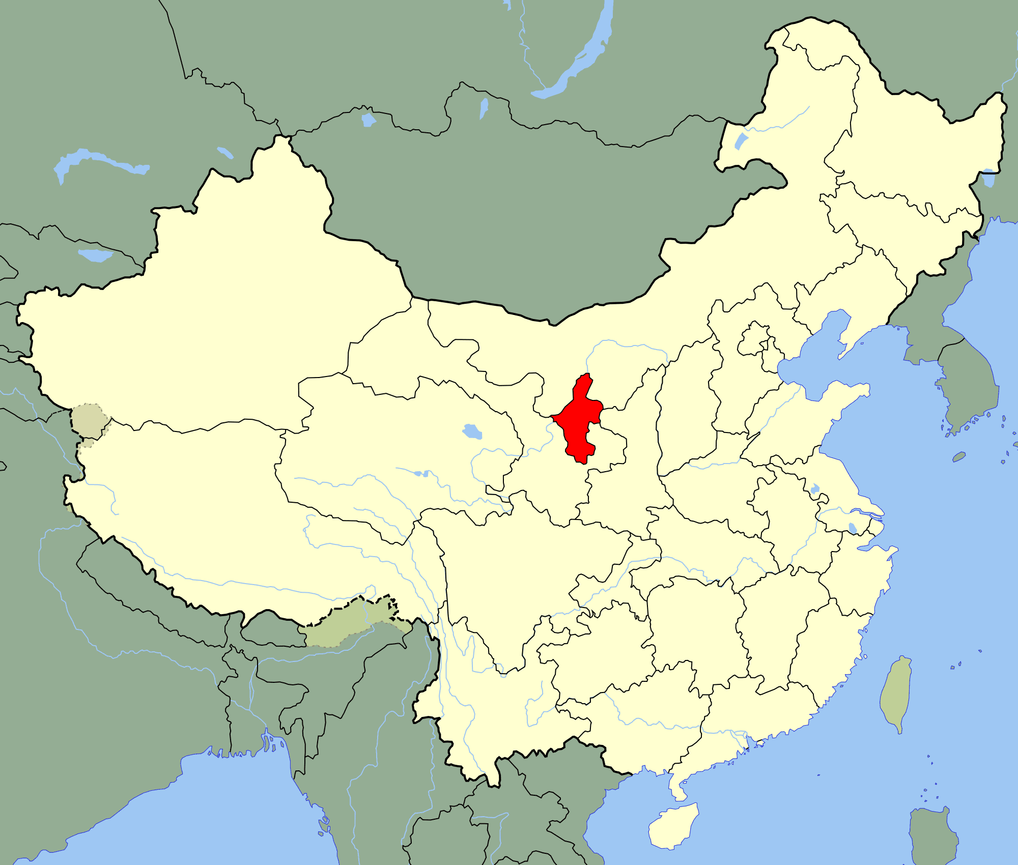 China Ningxia Location Map large map