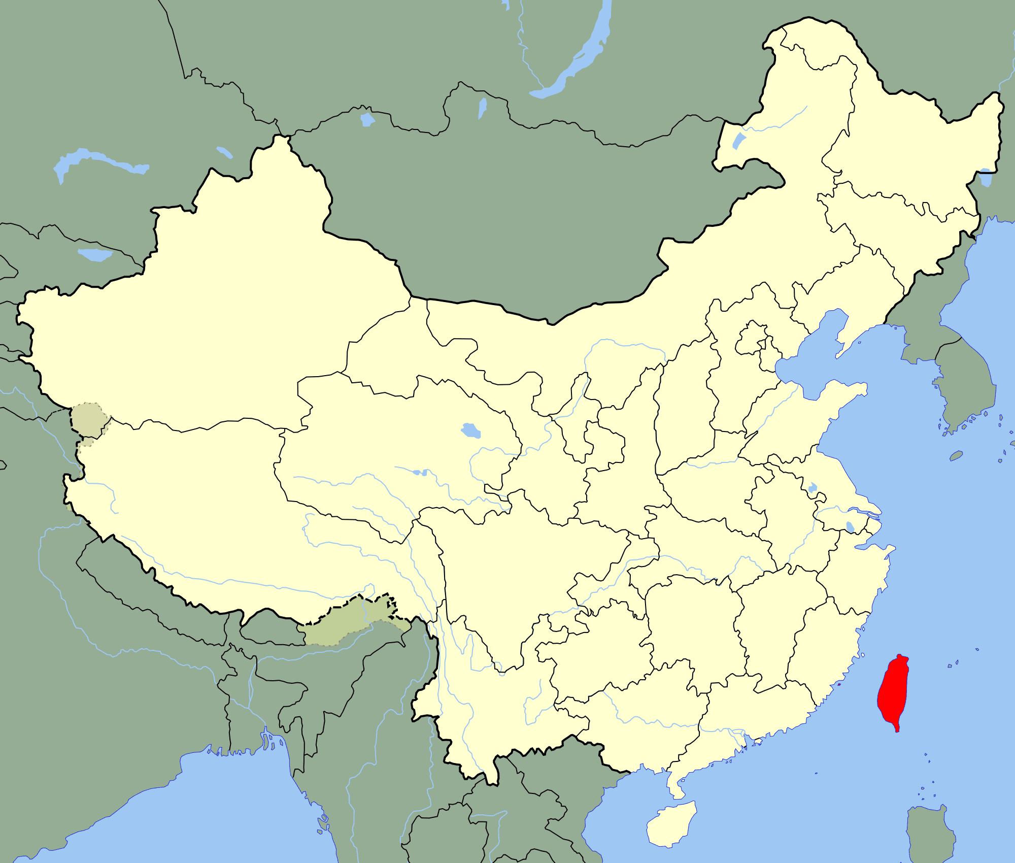 China Taiwan Location Map large map