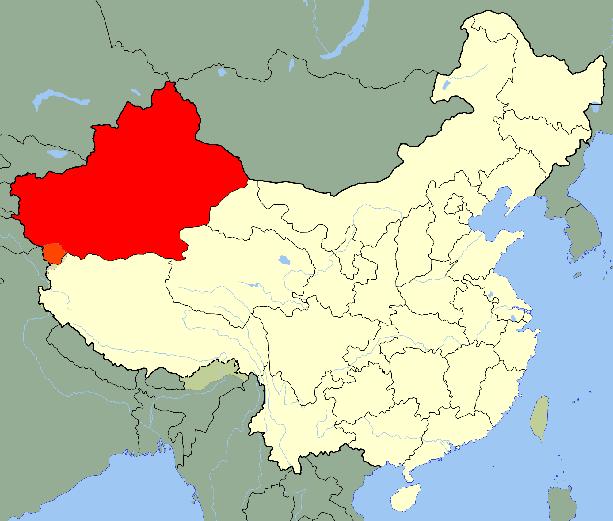 China Xinjiang Location Map large map