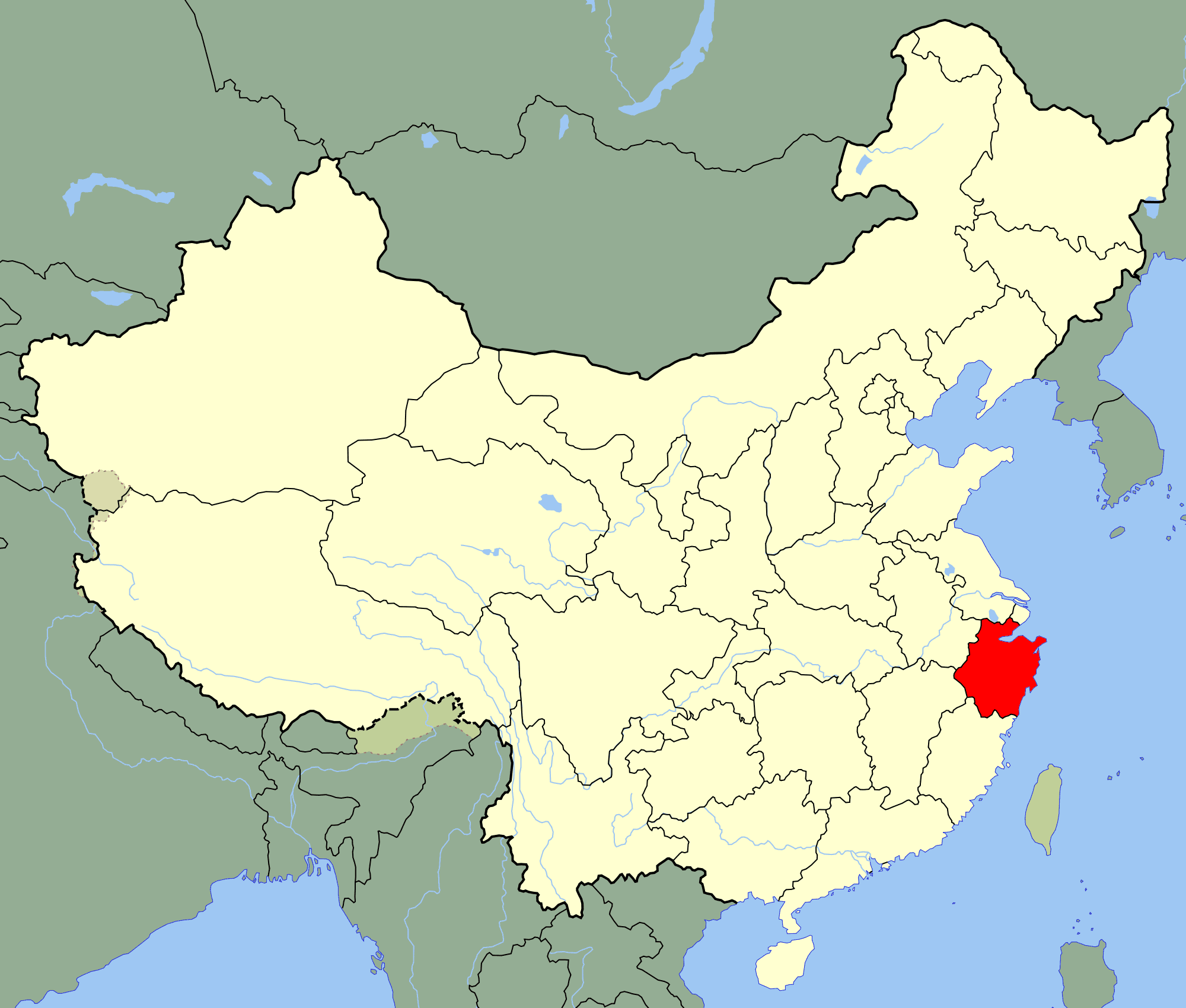 China Zhejiang Location Map