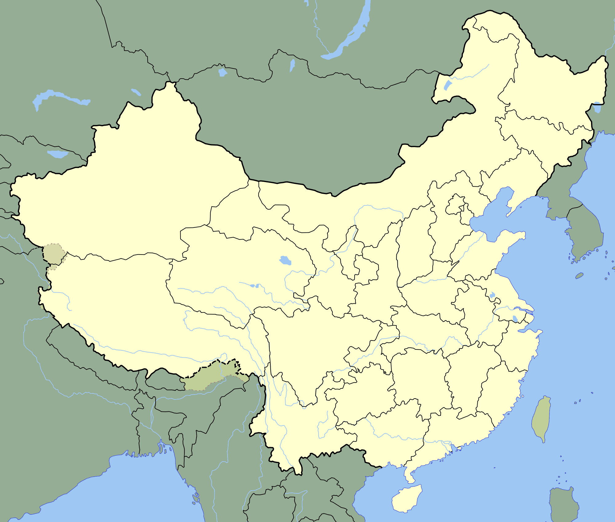 Blank Physical Map Of China.China Blank Map Mapsof Net