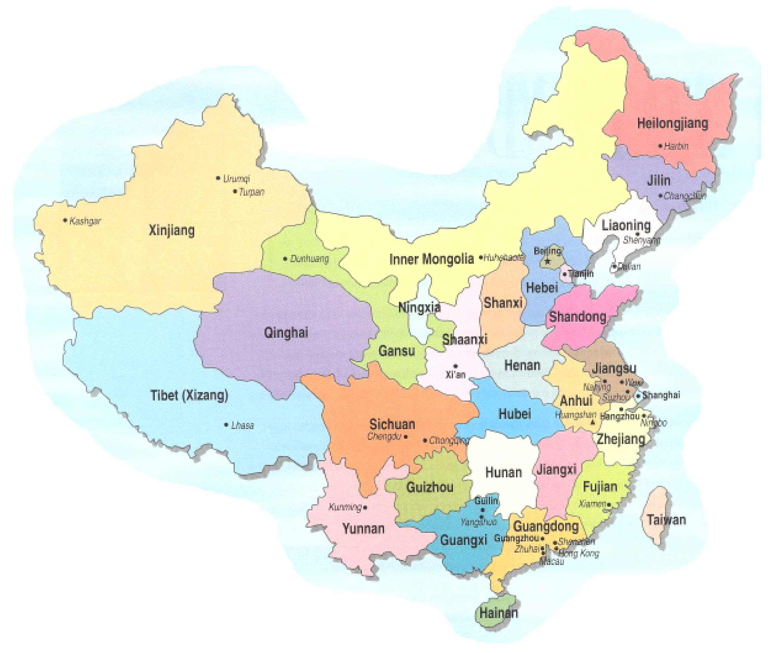 China Provinces Mapsofnet - China map