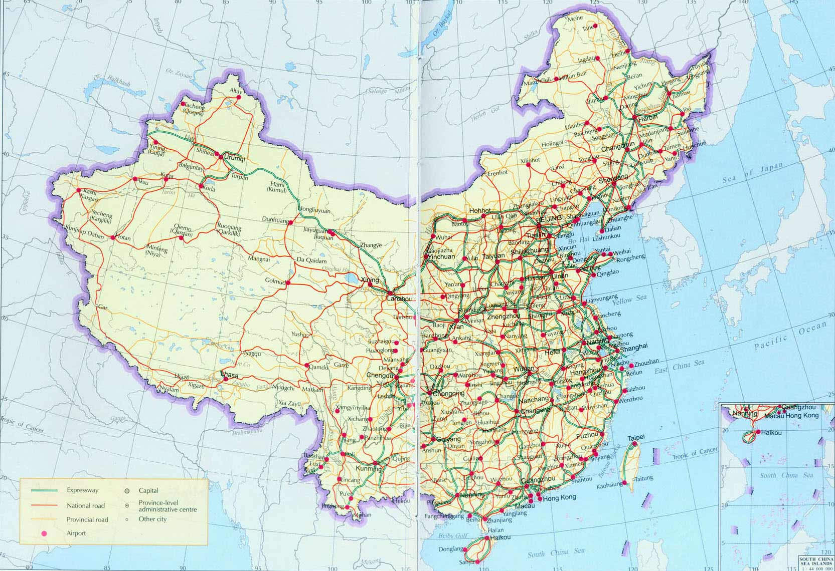 China Roads large map
