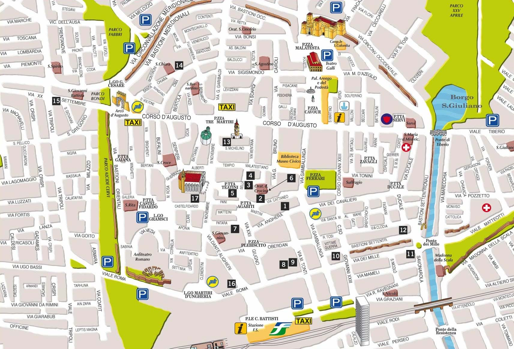City Center Map Bologna large map
