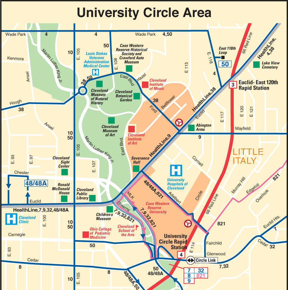 Cleveland University Circle Location Map large map