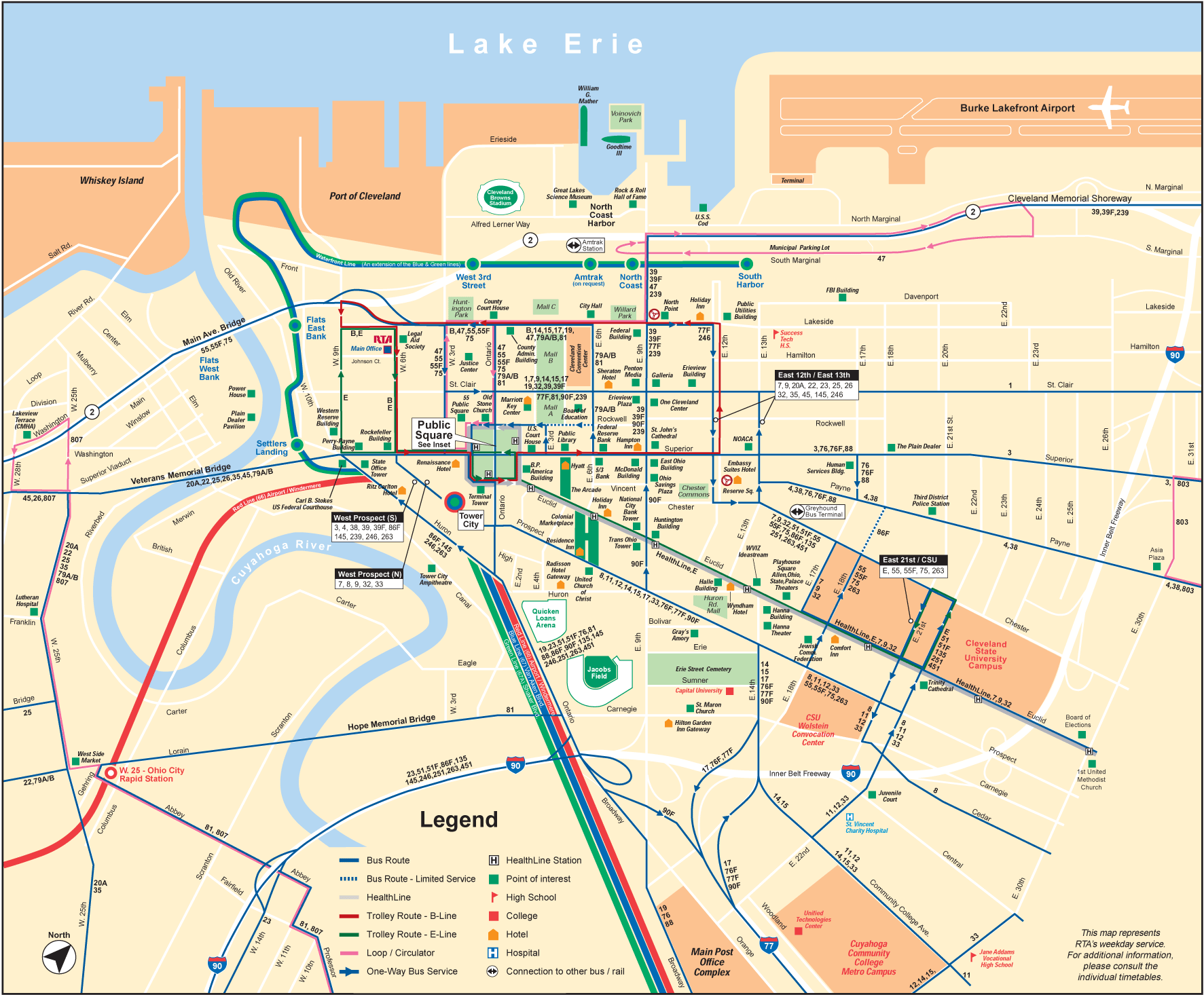 Cleveland Downtown Transport Map Mapsofnet