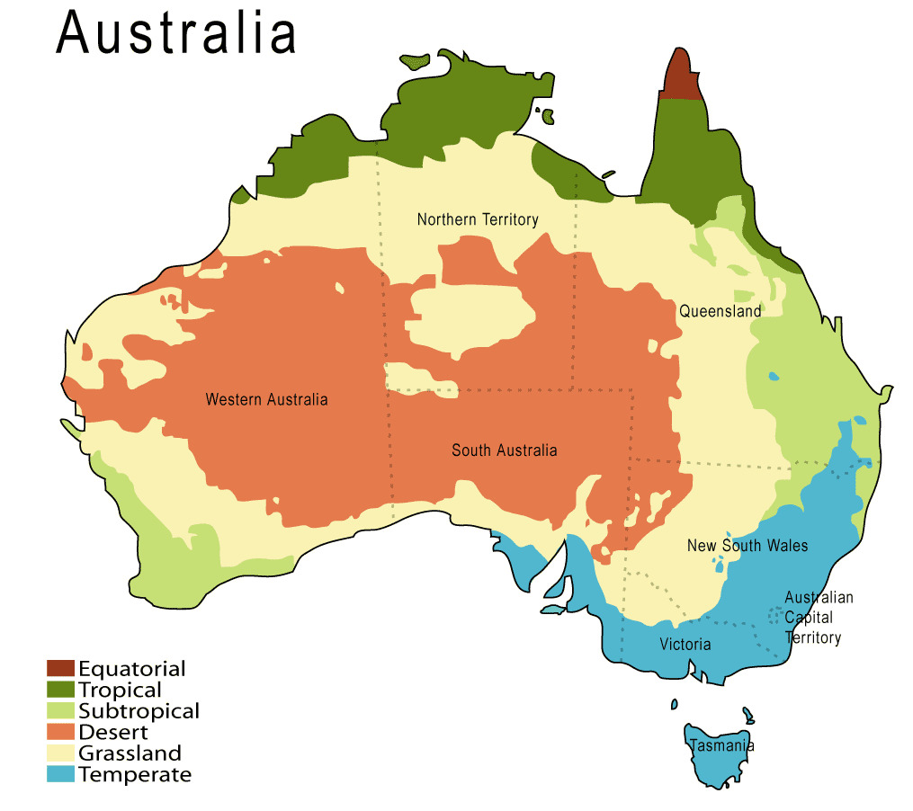 Climate Map of Australia large map
