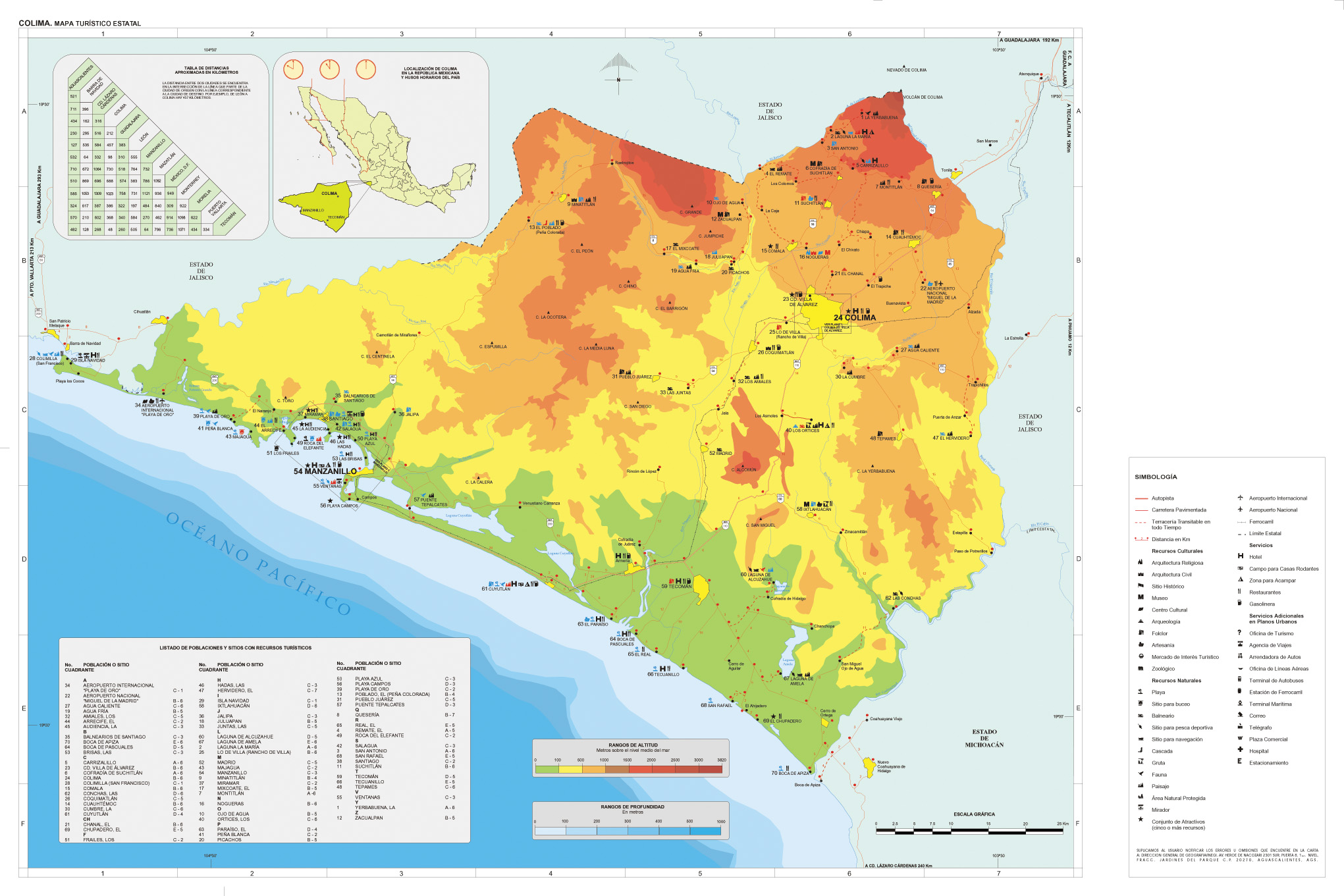 Colima Mexico Tourist Map large map