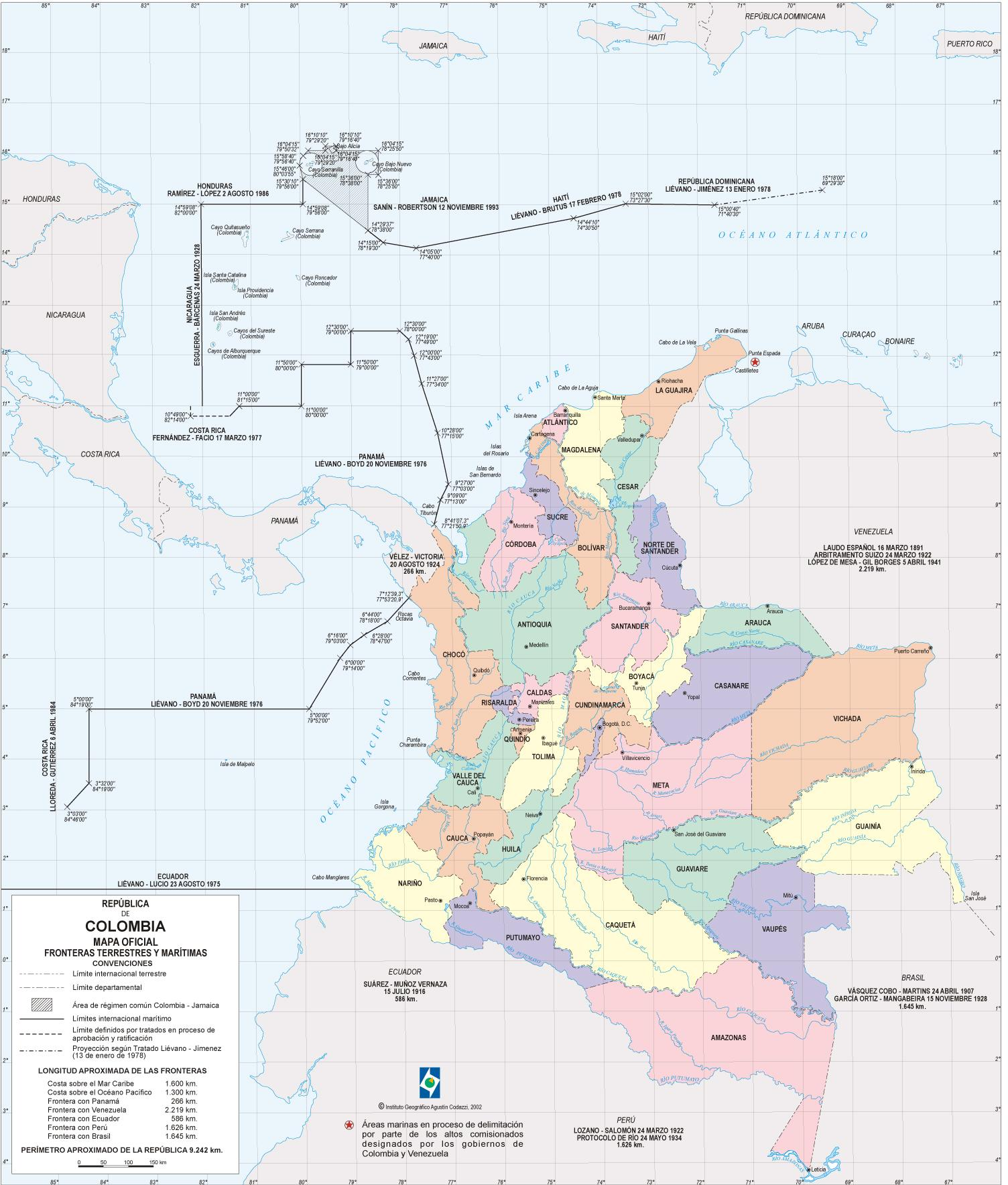 Colombia Political Map 2002 large map