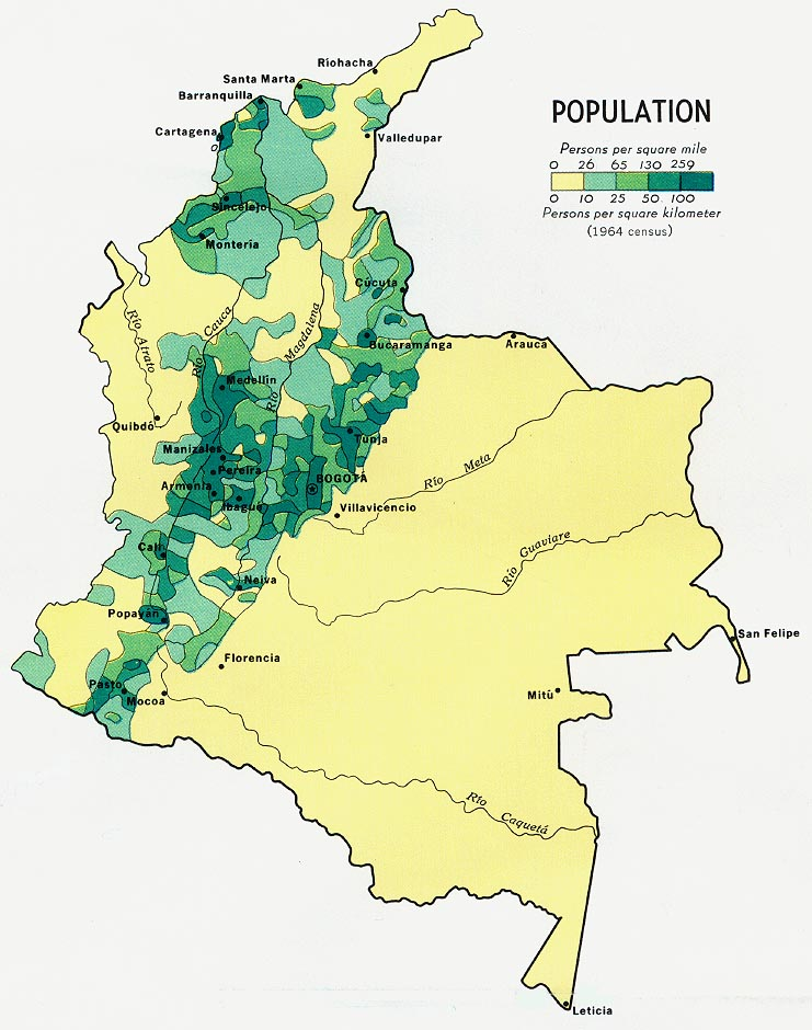 Colombia Population Map 1970 large map