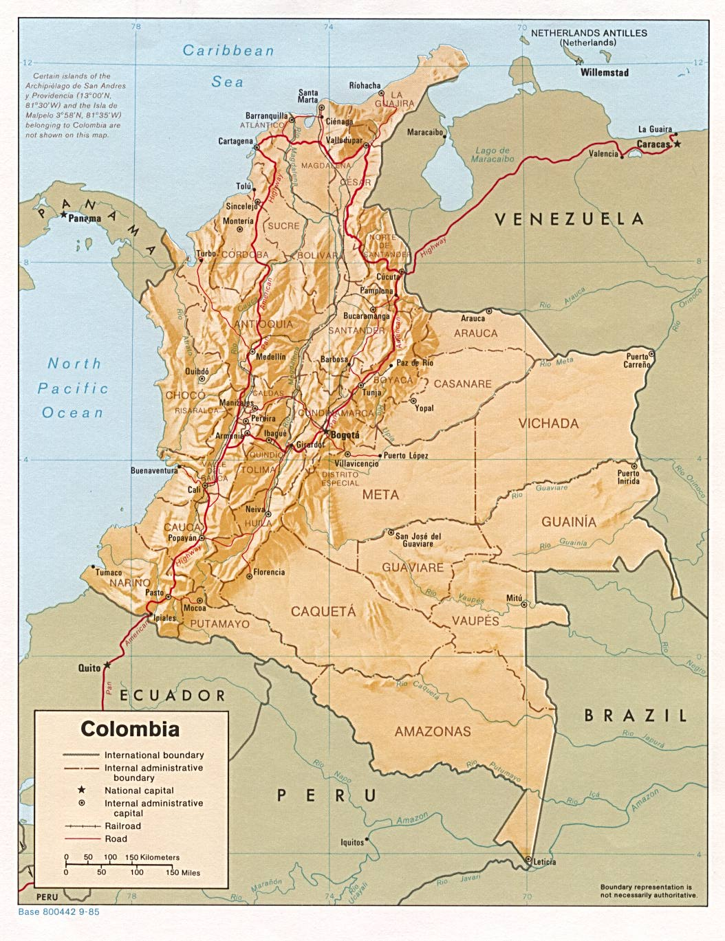 Colombia Shading Relief Map 1985 large map