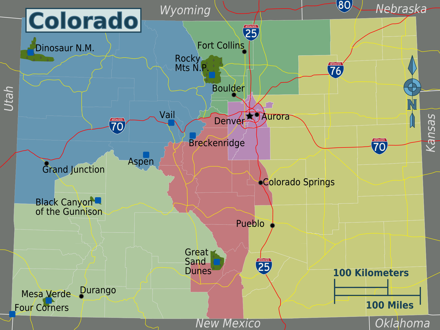 Colorado Regions Map large map