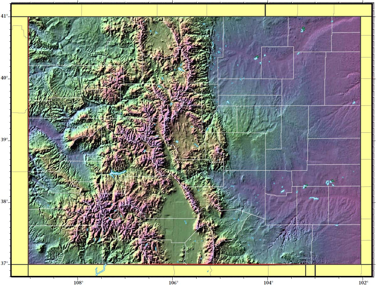 Colorado Relief Map large map