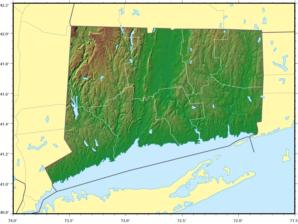 Connecticut Relief Map  Mapsof