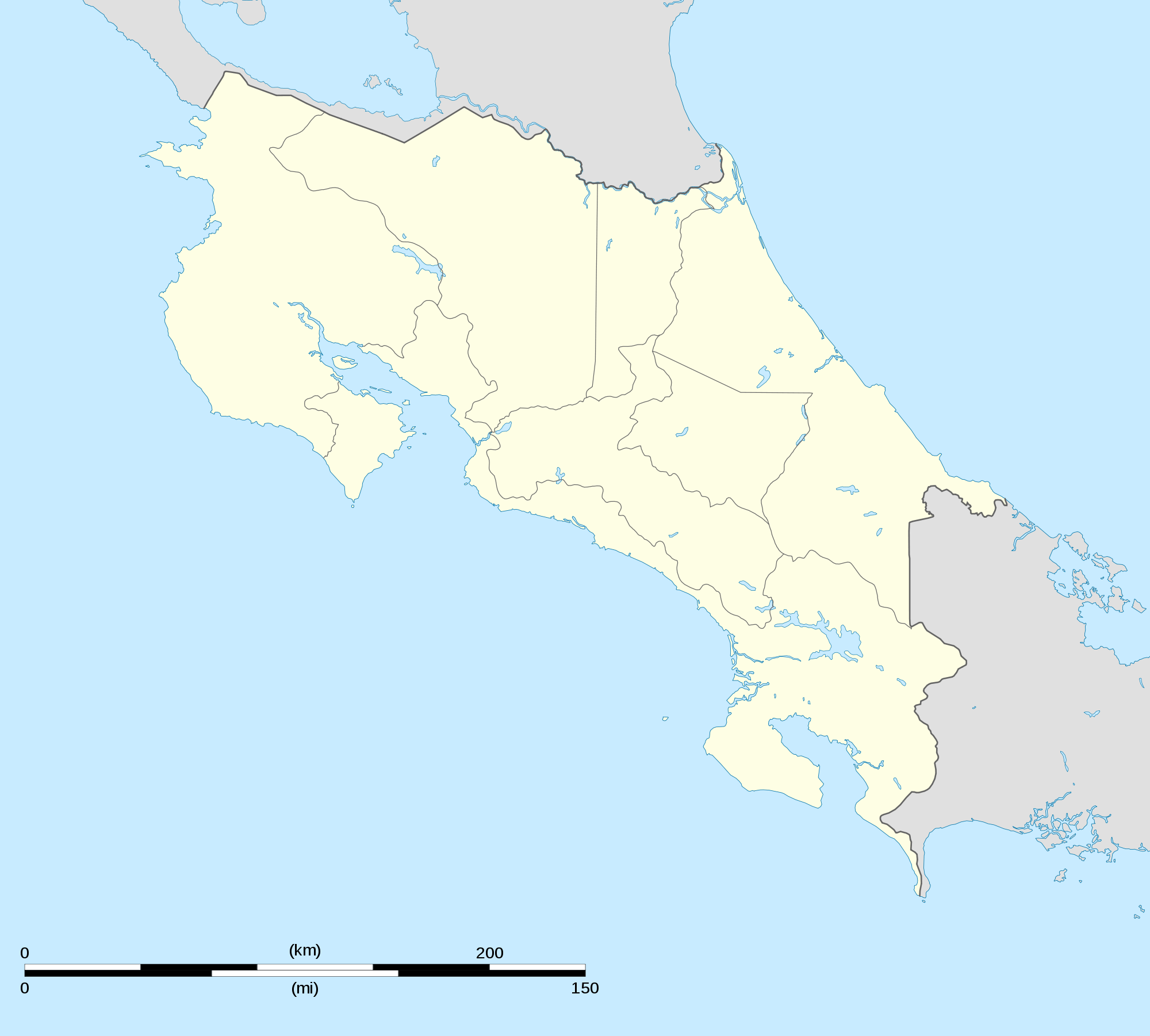 Costa Rica Map large map
