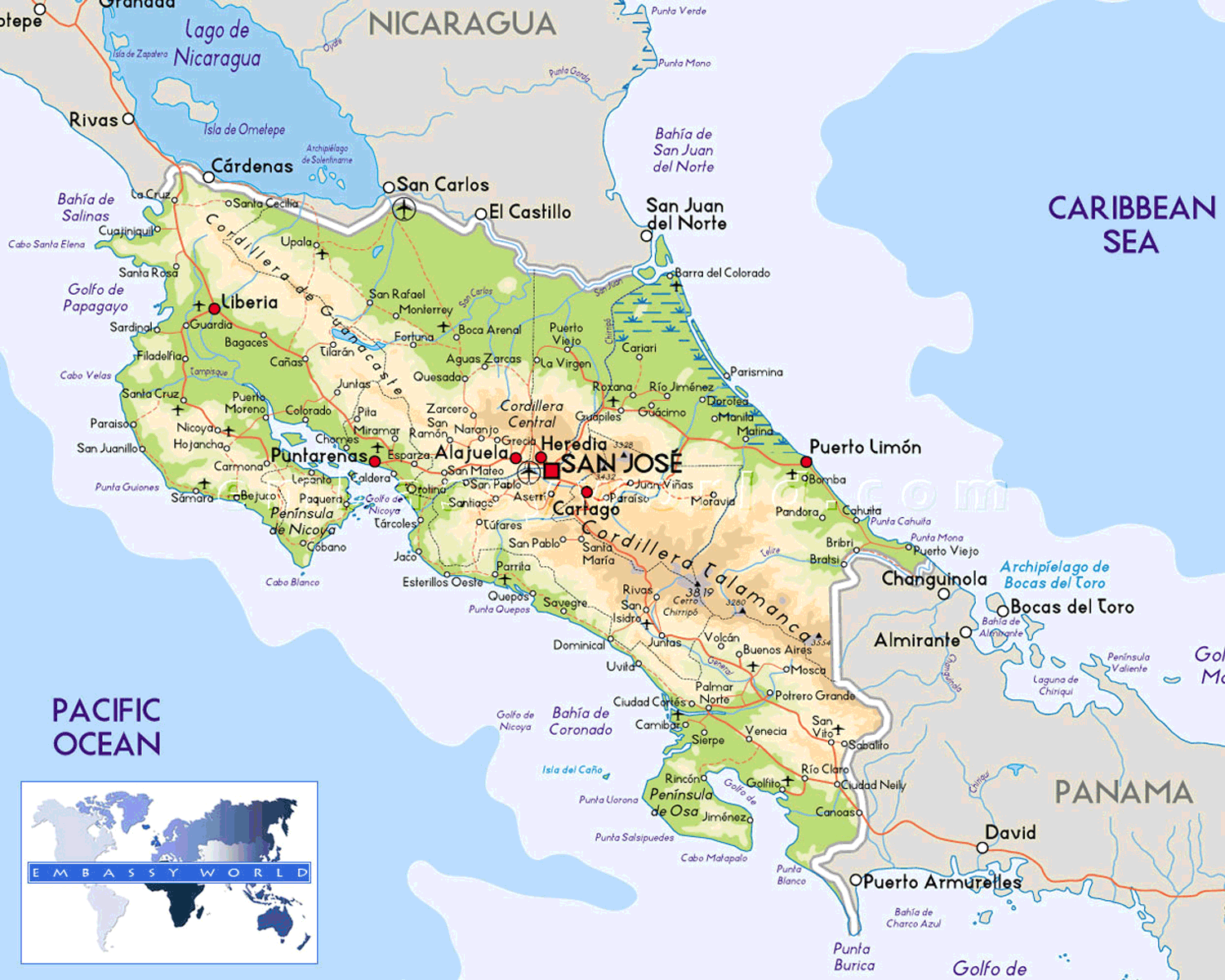 Costa Rica Physical Map large map