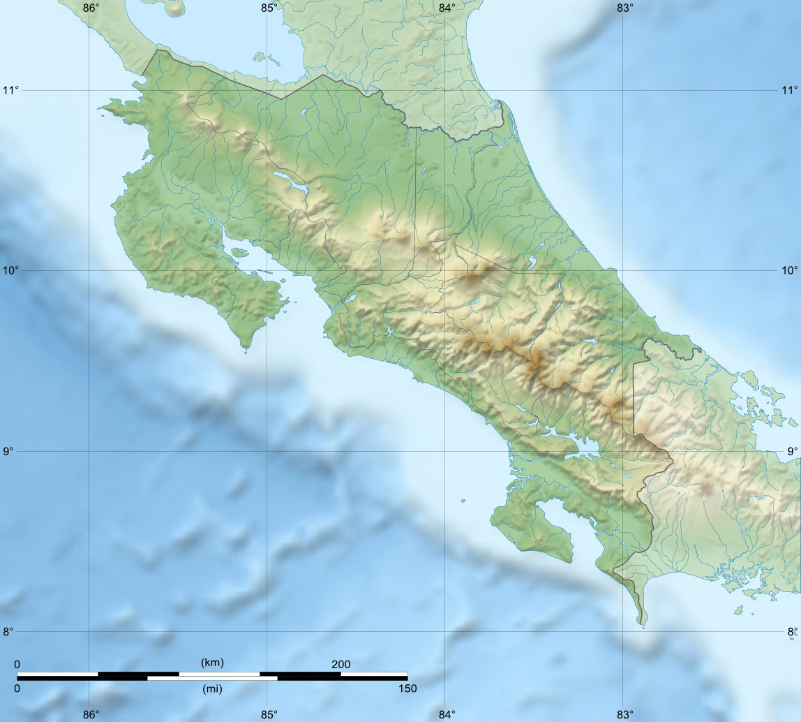Costa Rica Relief Map large map