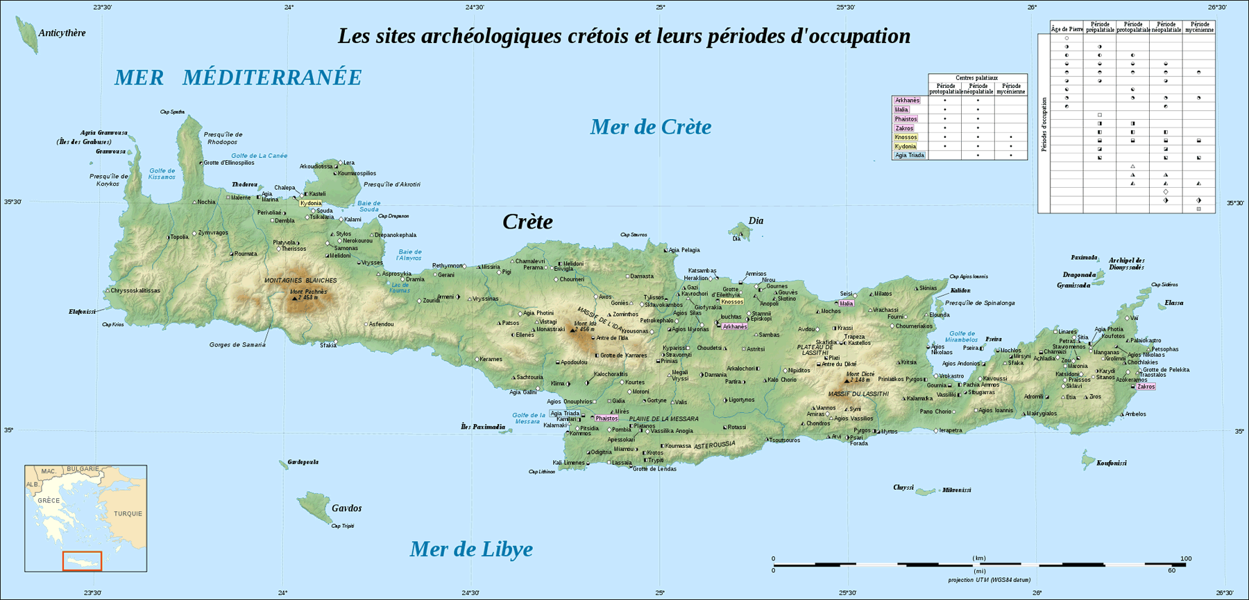 Crete Archaeological Sites Fr large map