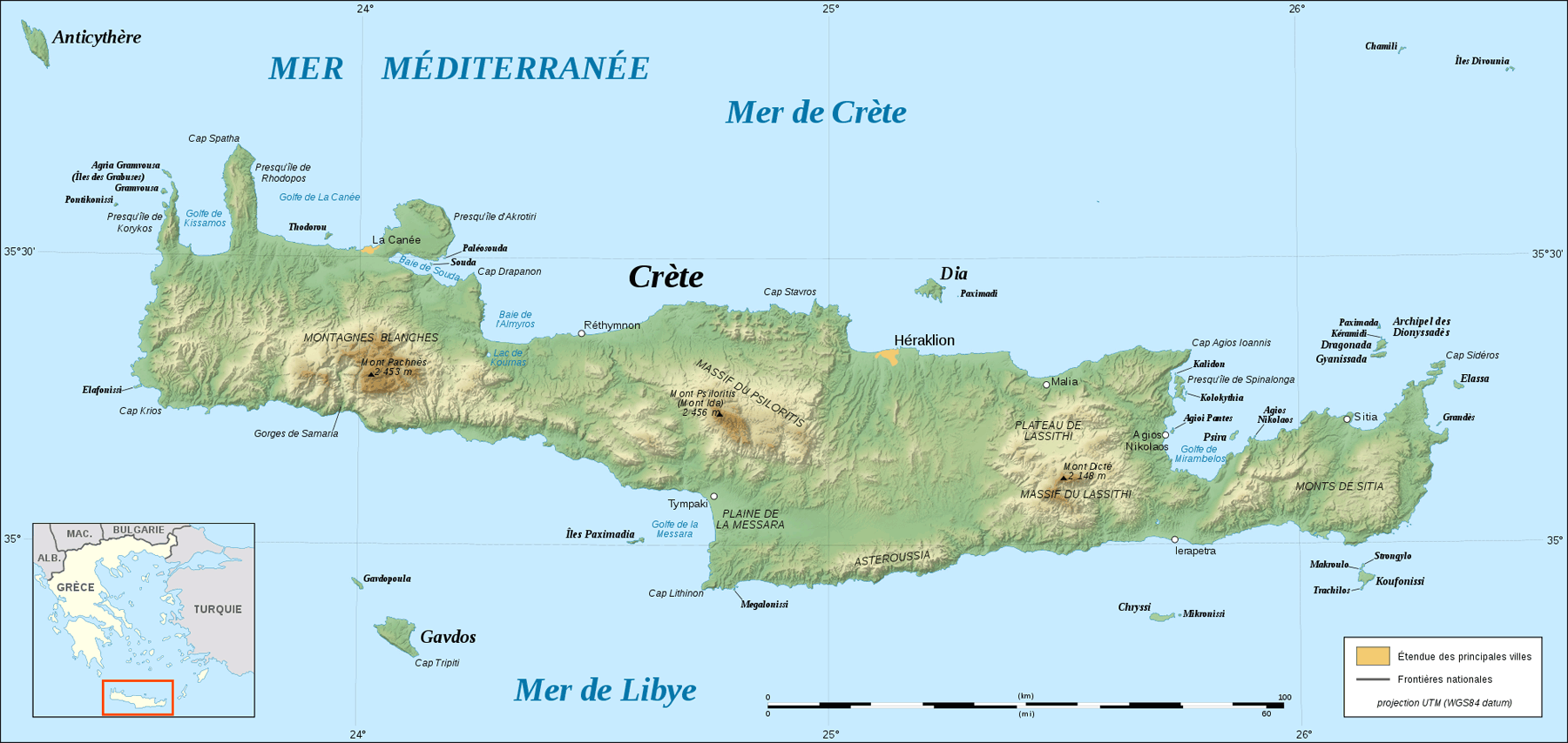 Crete Relief Map Fr large map