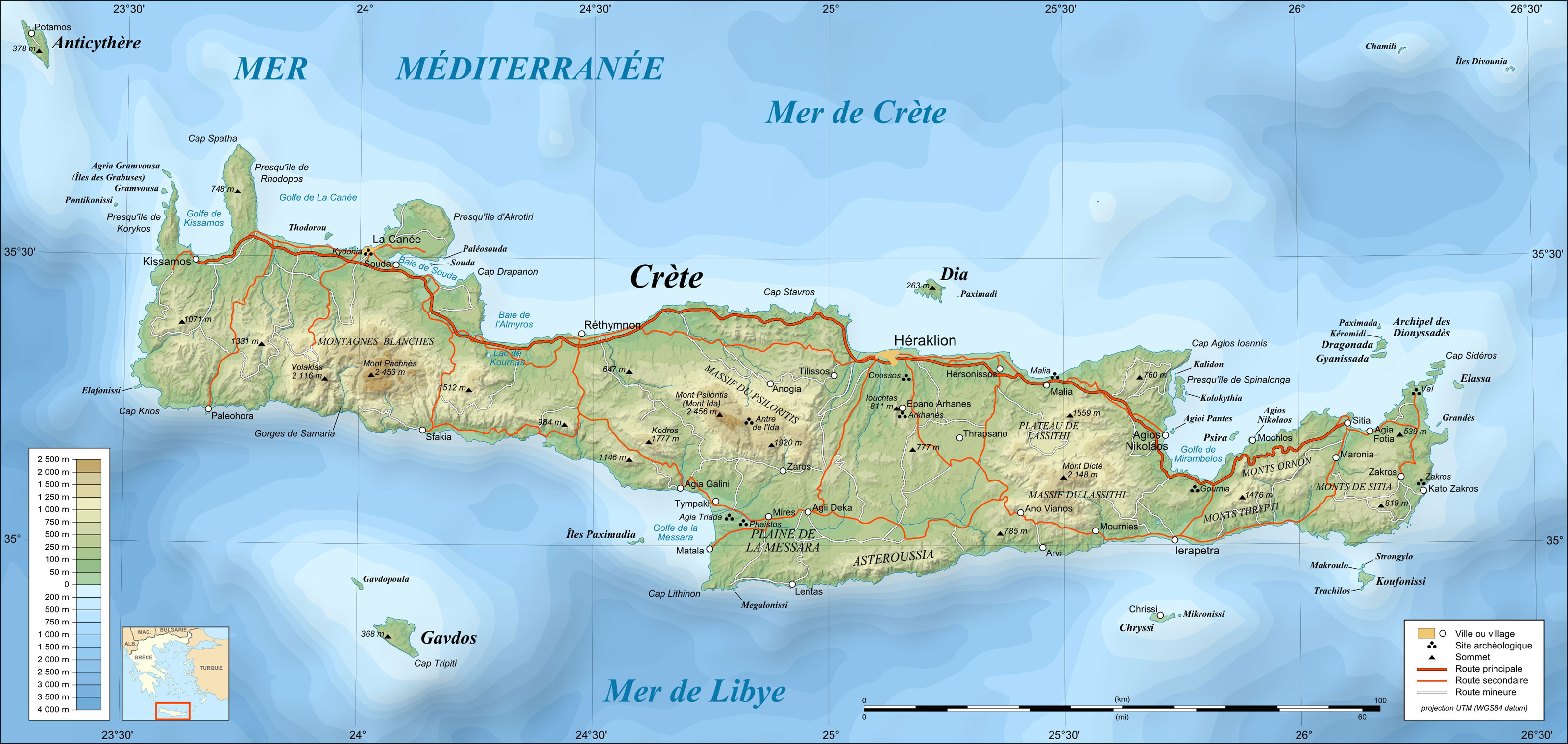Crete Topographic Map Fr large map