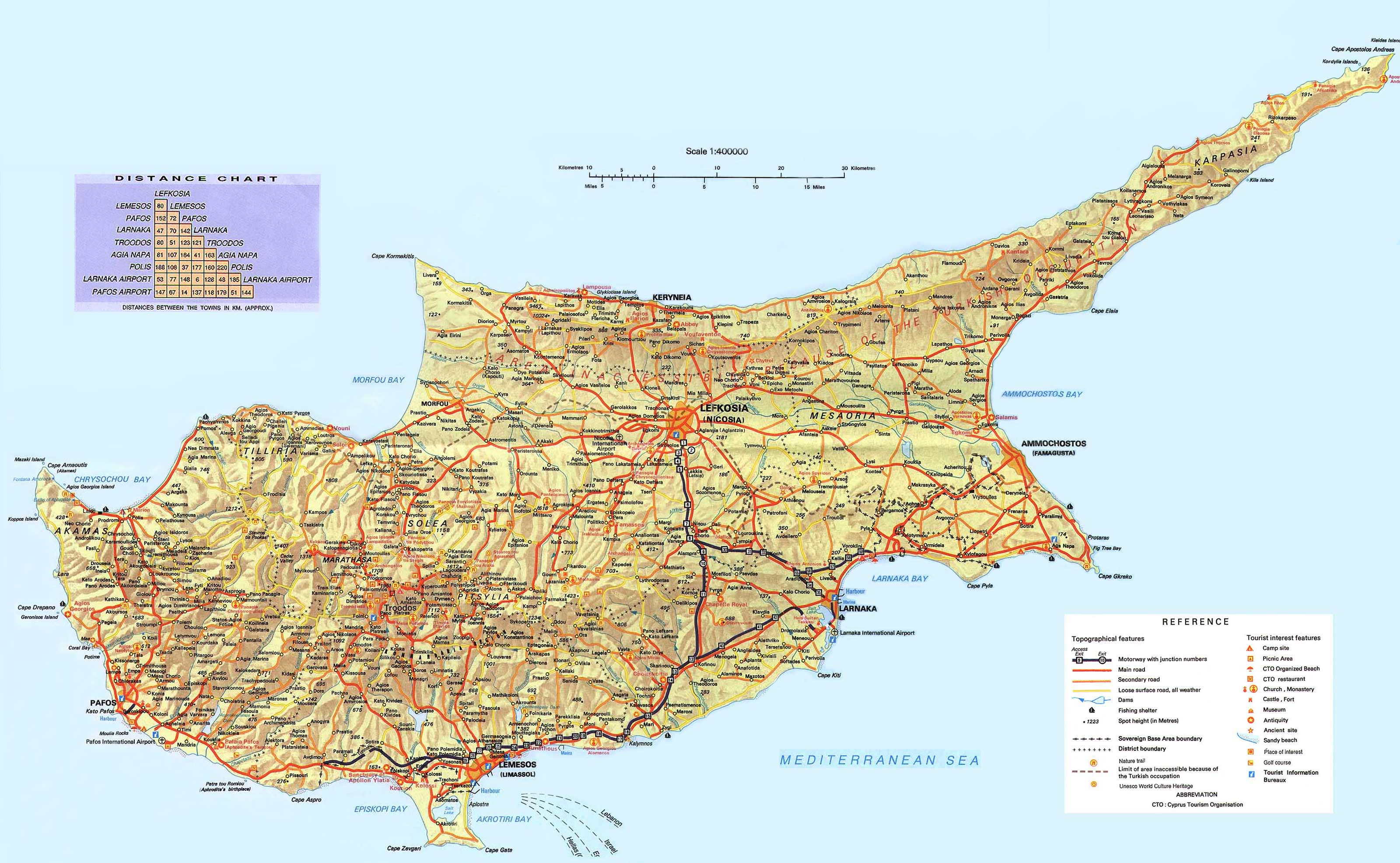 Cyprus Map large map
