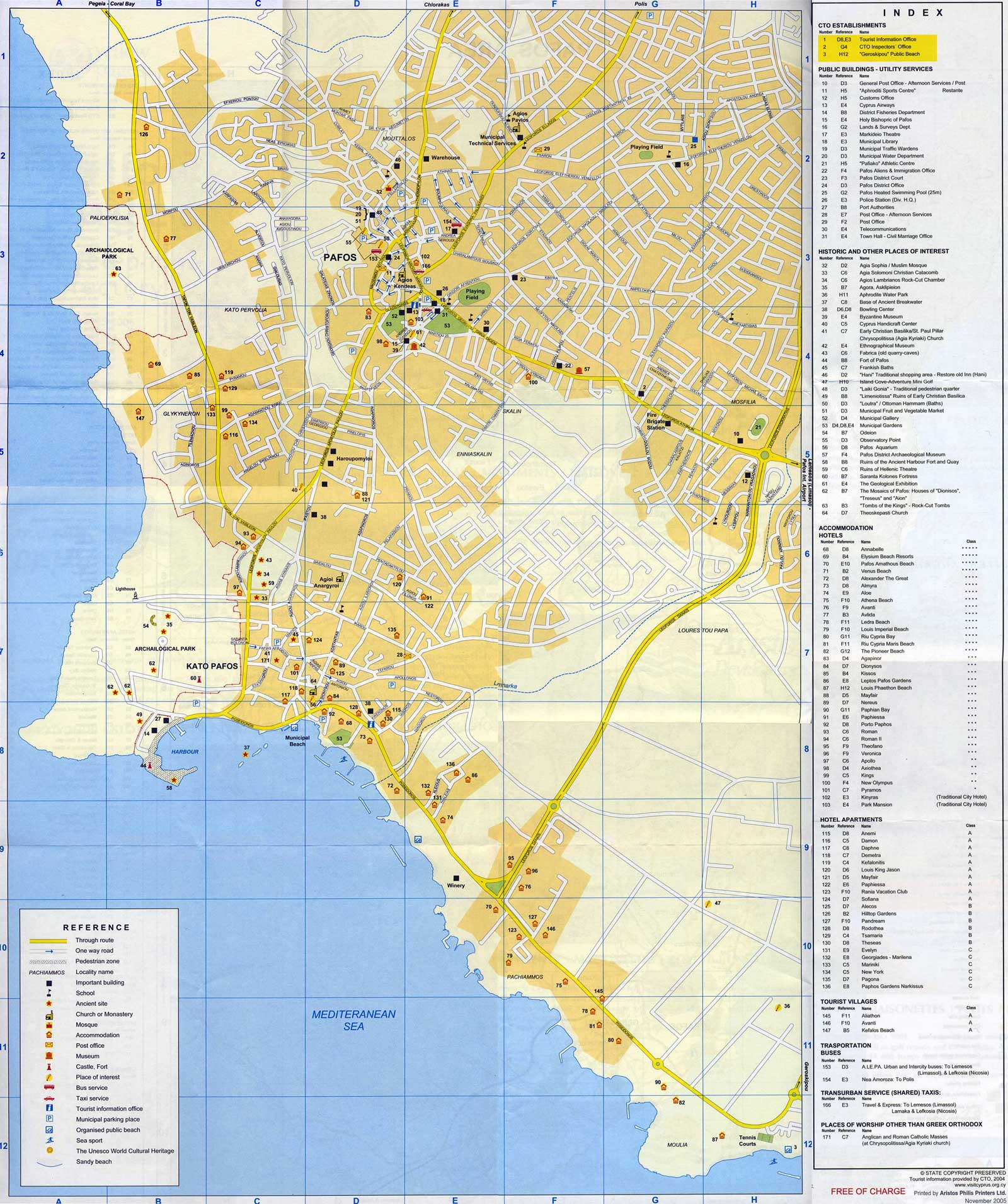 Cyprus Paphos City Map large map