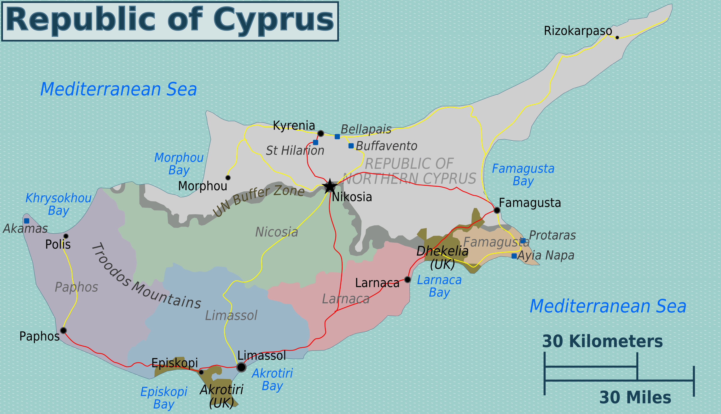Cyprus Regions Map Mapsofnet