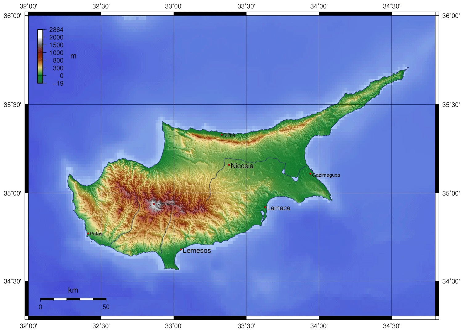 Cyprus Topo Map large map
